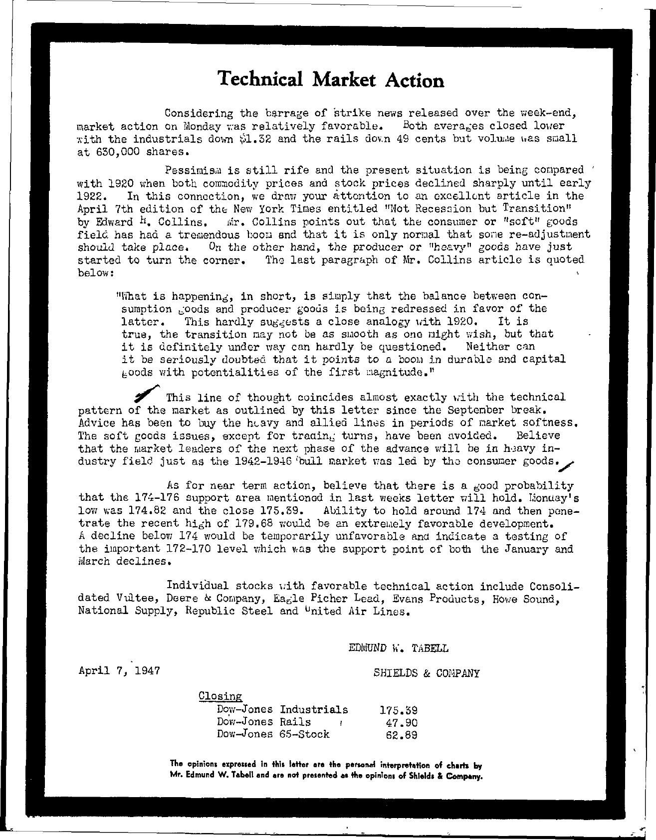 Tabell's Market Letter - April 07, 1947
