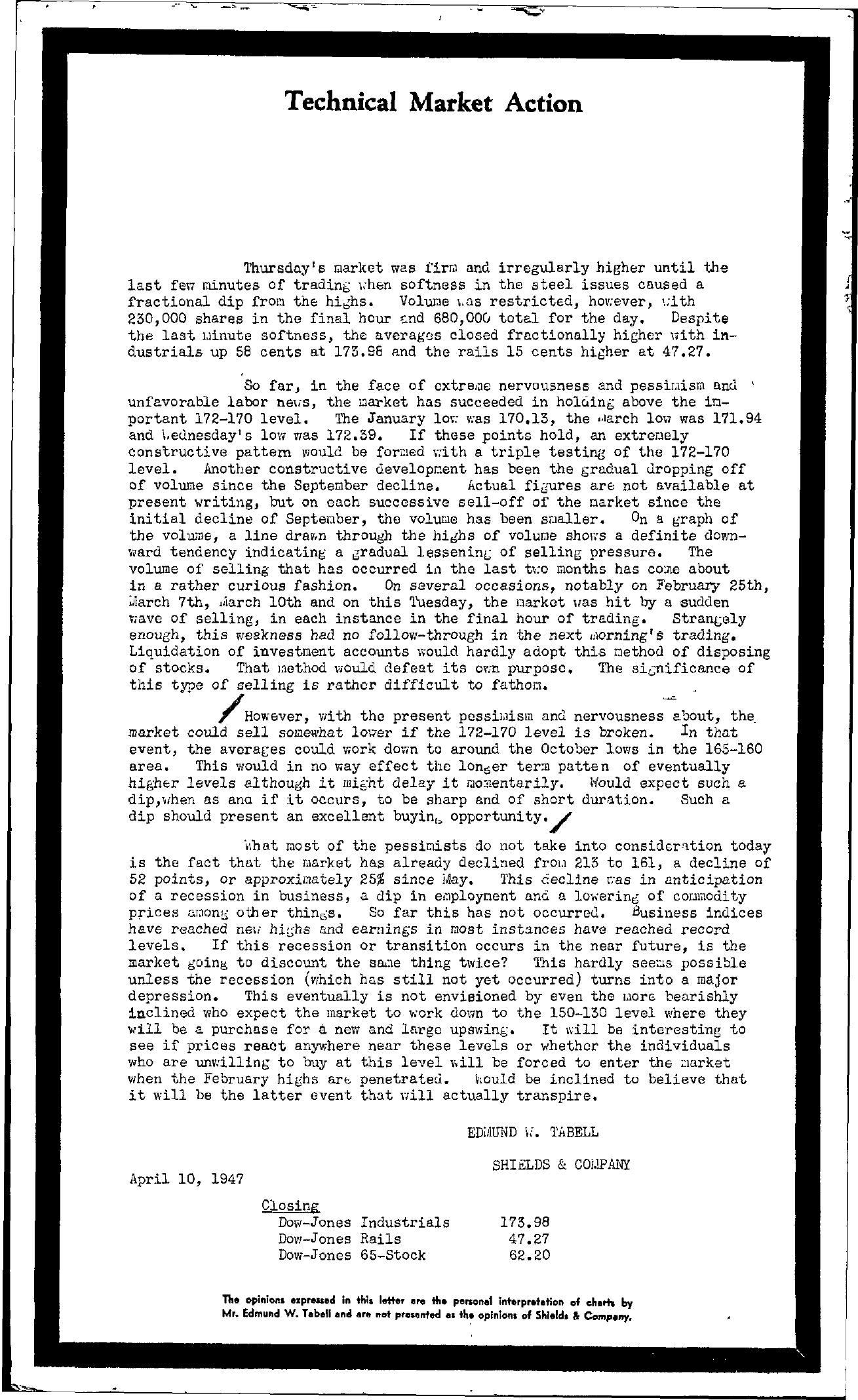 Tabell's Market Letter - April 10, 1947
