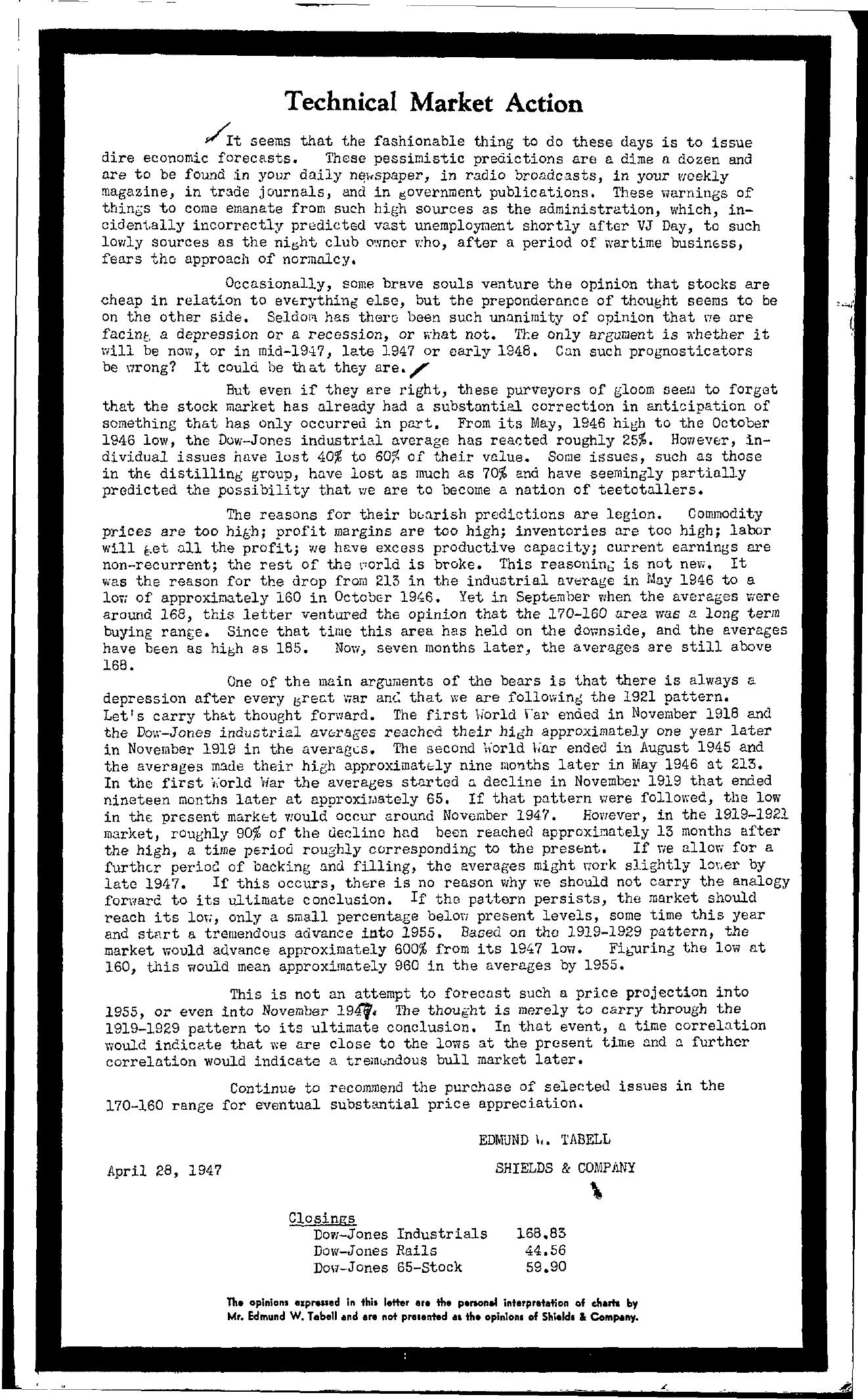 Tabell's Market Letter - April 28, 1947