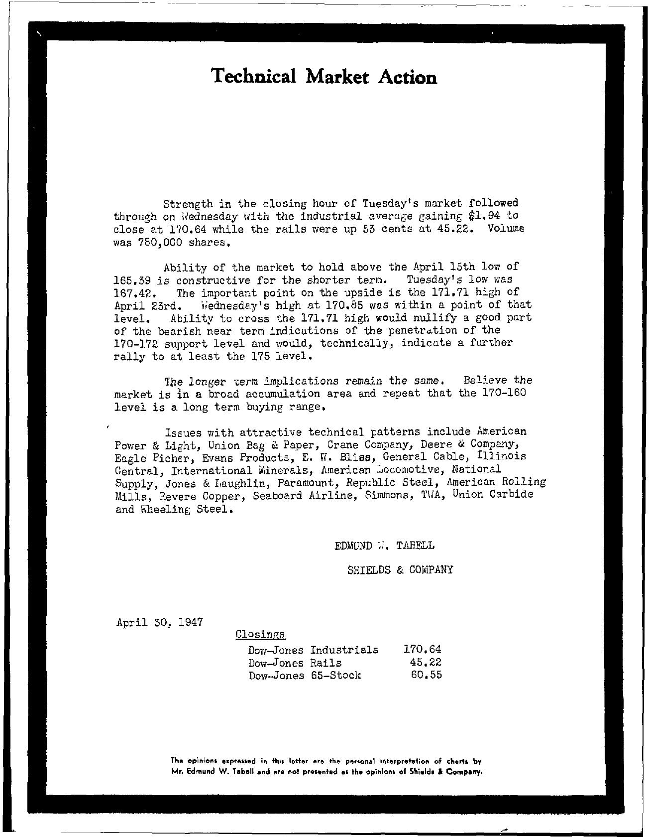 Tabell's Market Letter - April 30, 1947