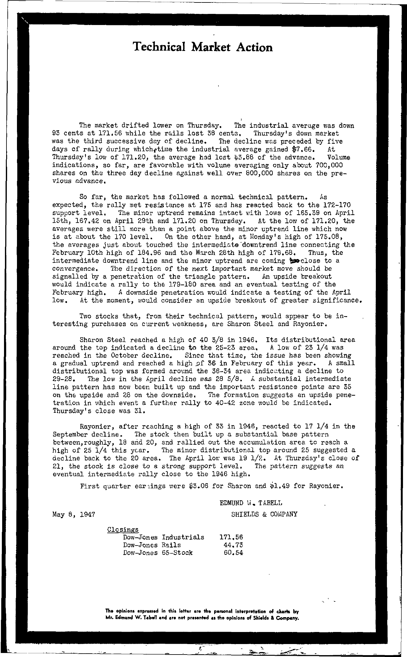 Tabell's Market Letter - May 08, 1947