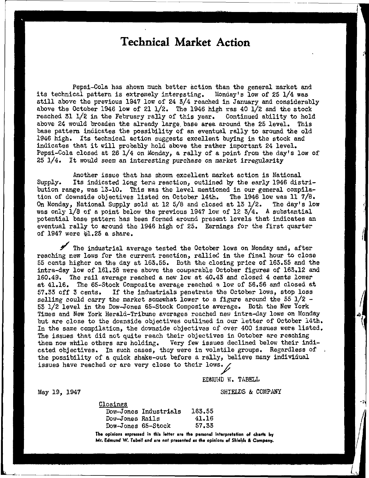 Tabell's Market Letter - May 19, 1947
