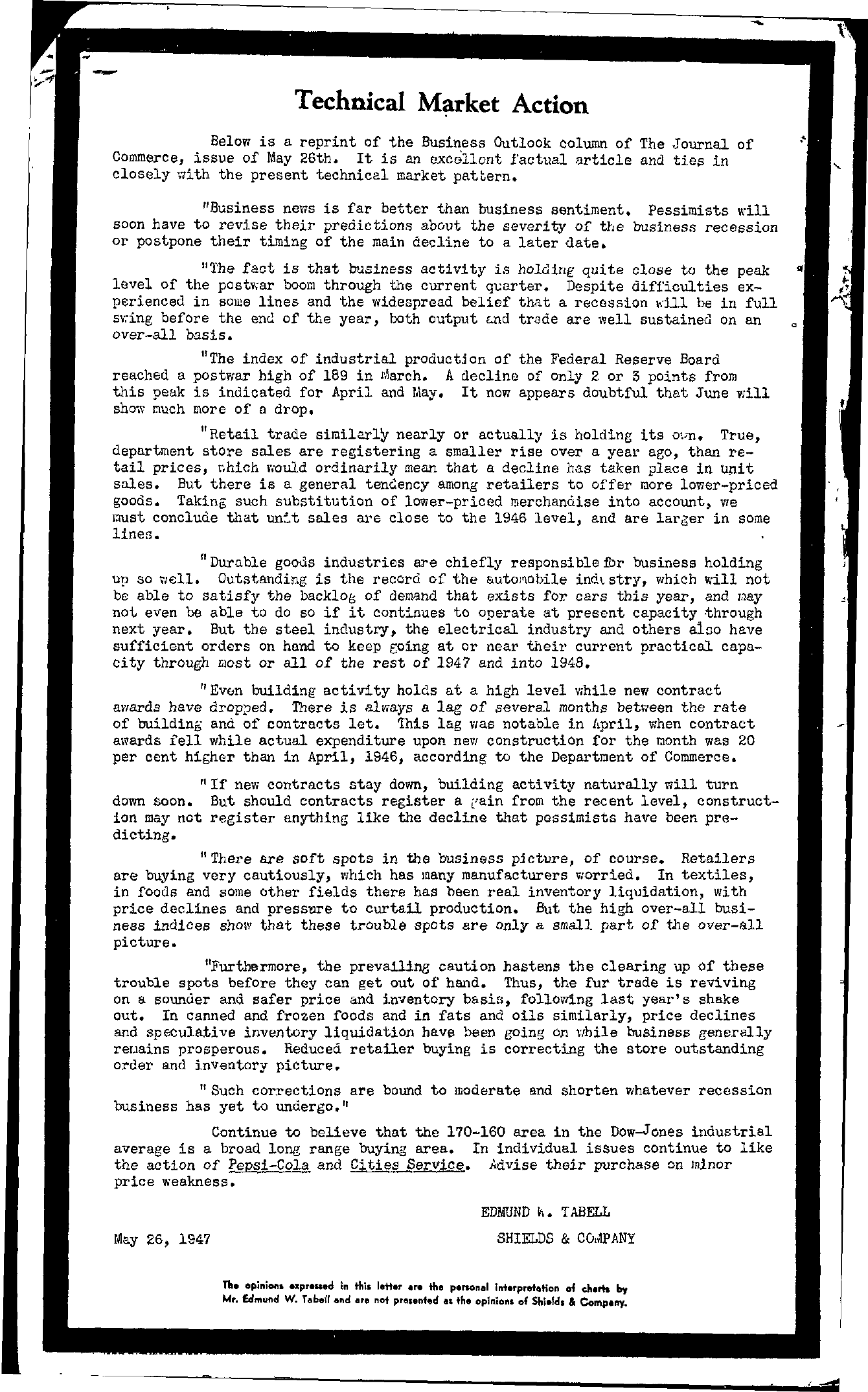 Tabell's Market Letter - May 26, 1947