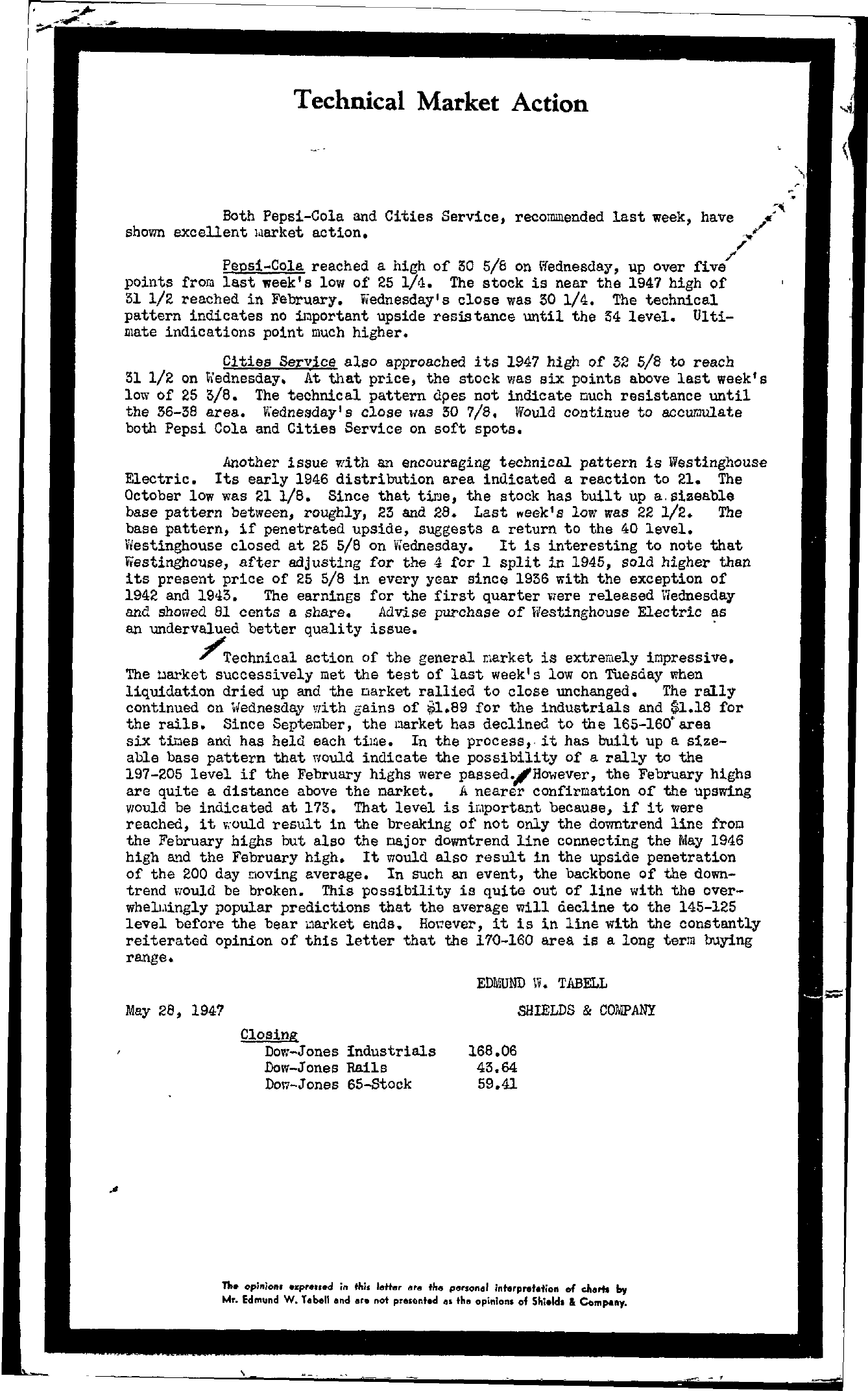 Tabell's Market Letter - May 28, 1947 page 1