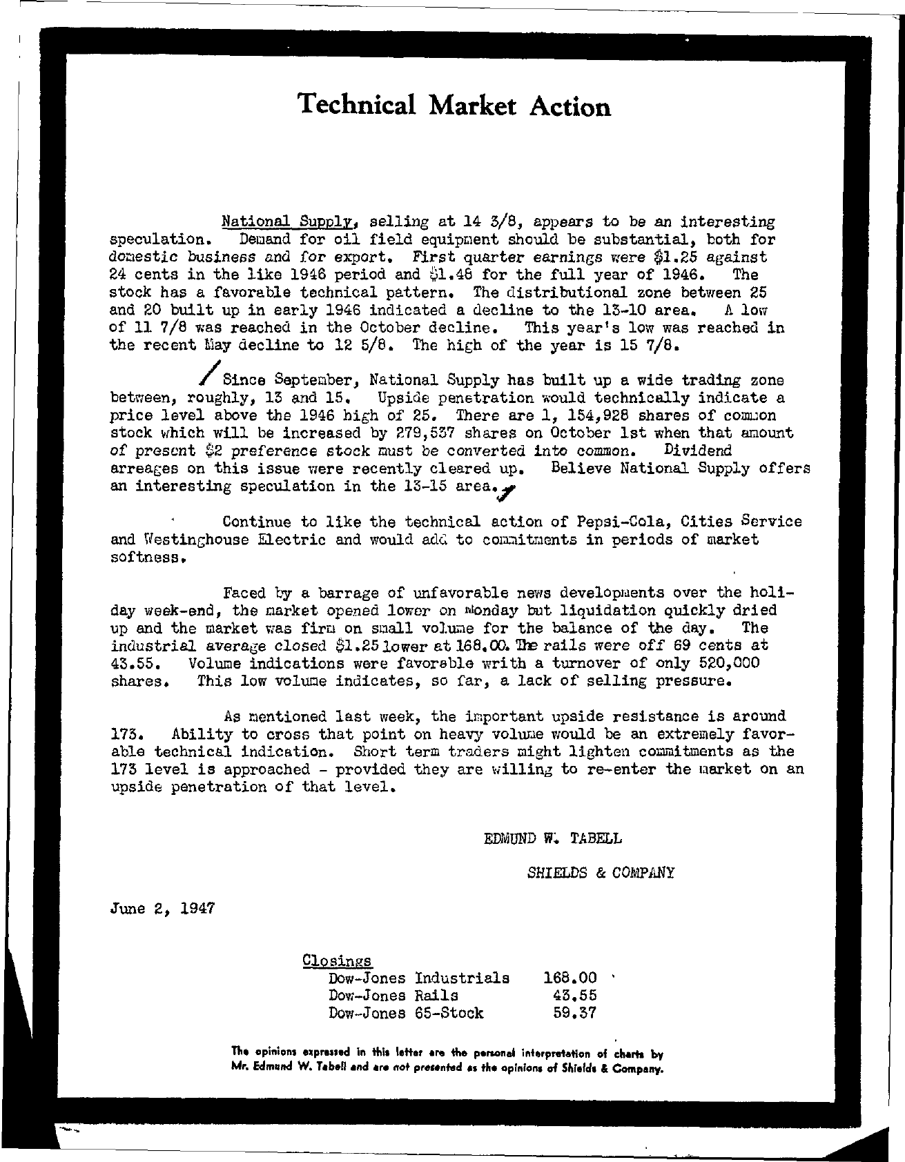 Tabell's Market Letter - June 02, 1947