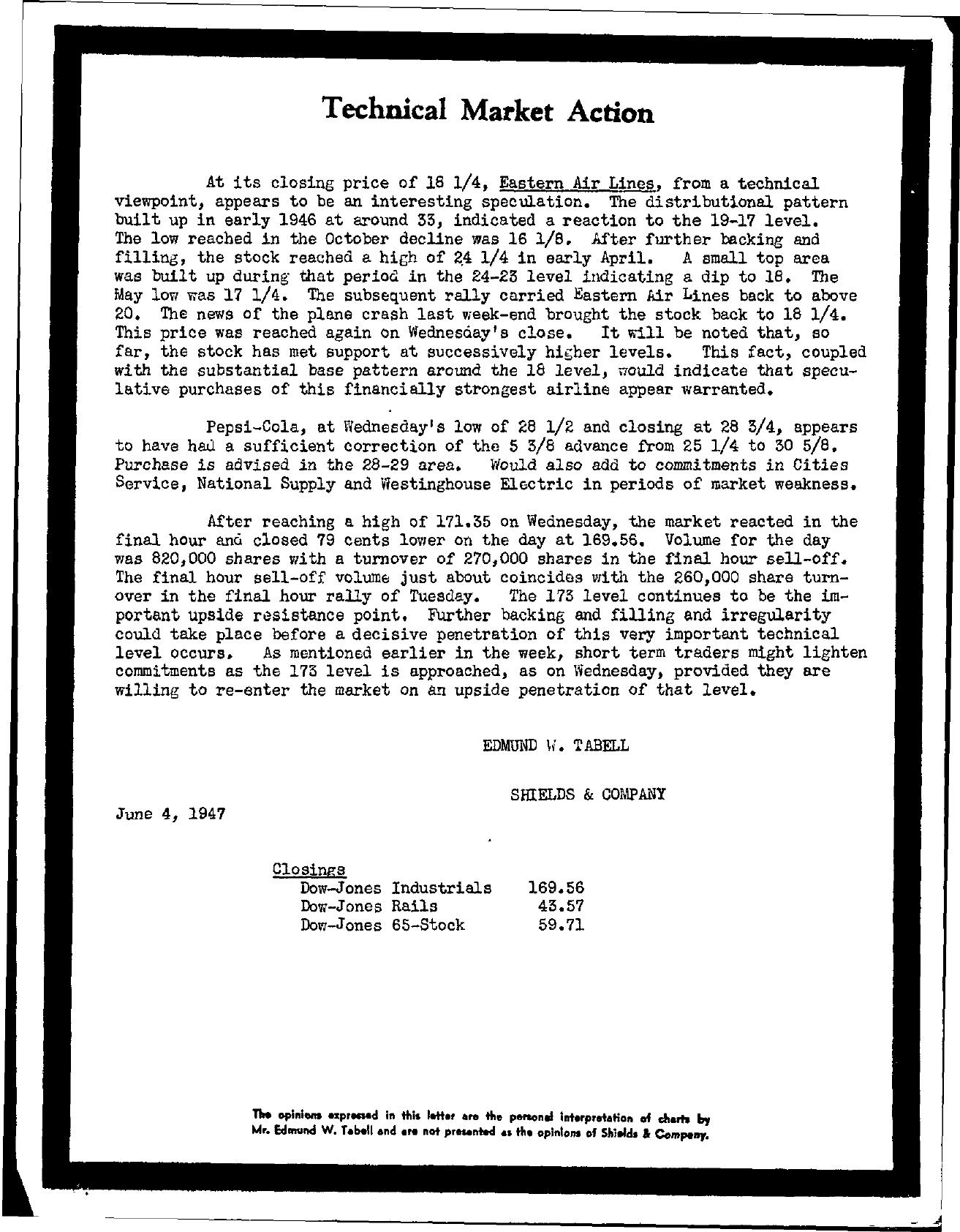 Tabell's Market Letter - June 04, 1947