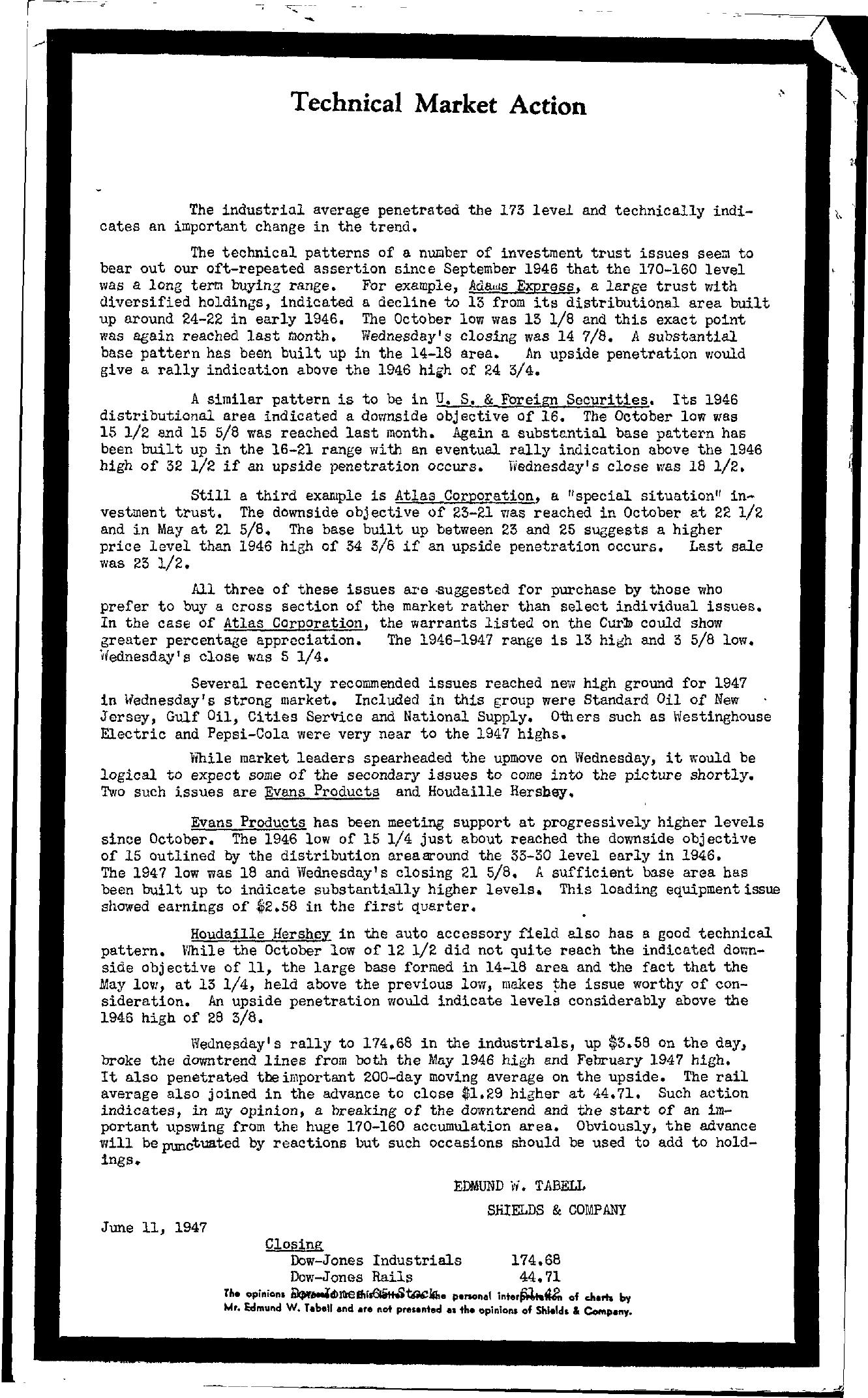 Tabell's Market Letter - June 11, 1947