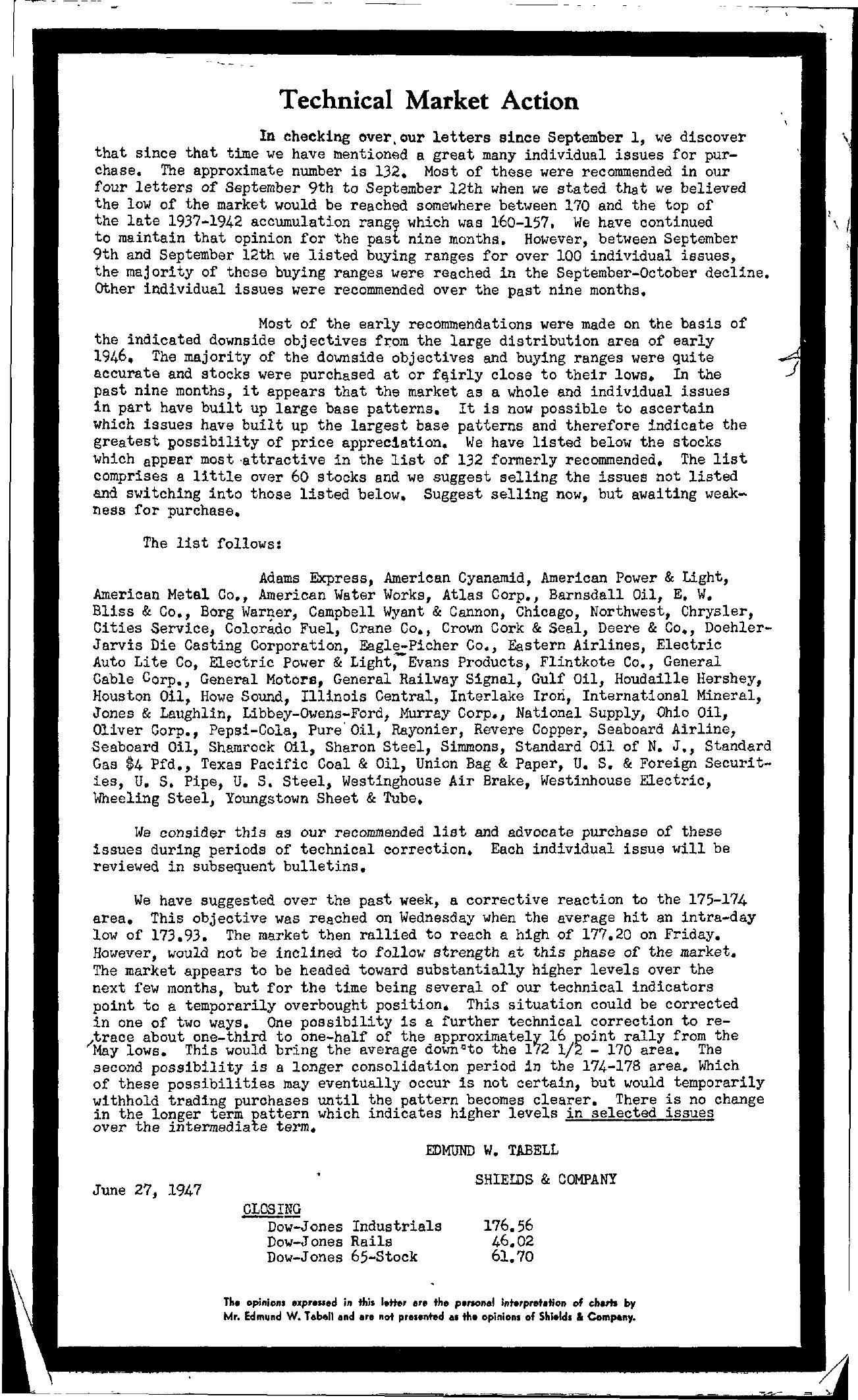 Tabell's Market Letter - June 27, 1947