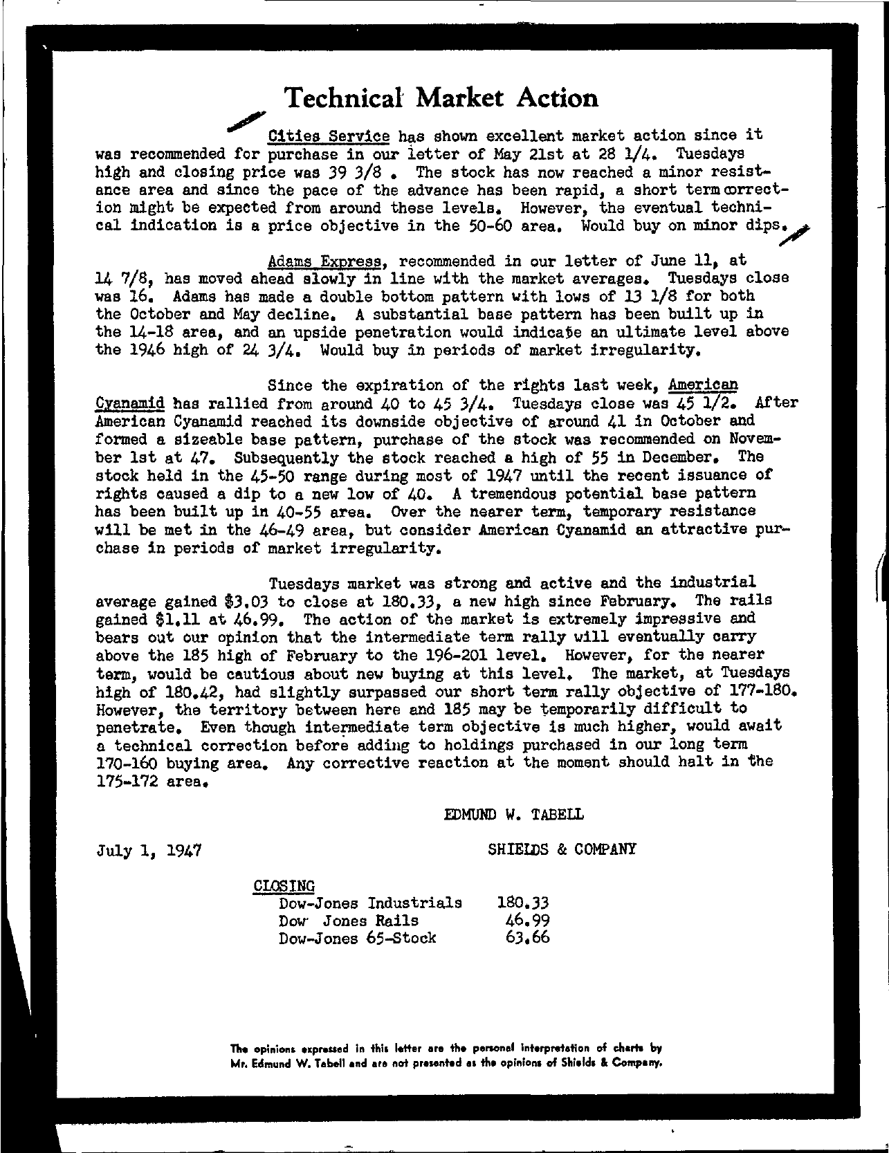 Tabell's Market Letter - July 01, 1947