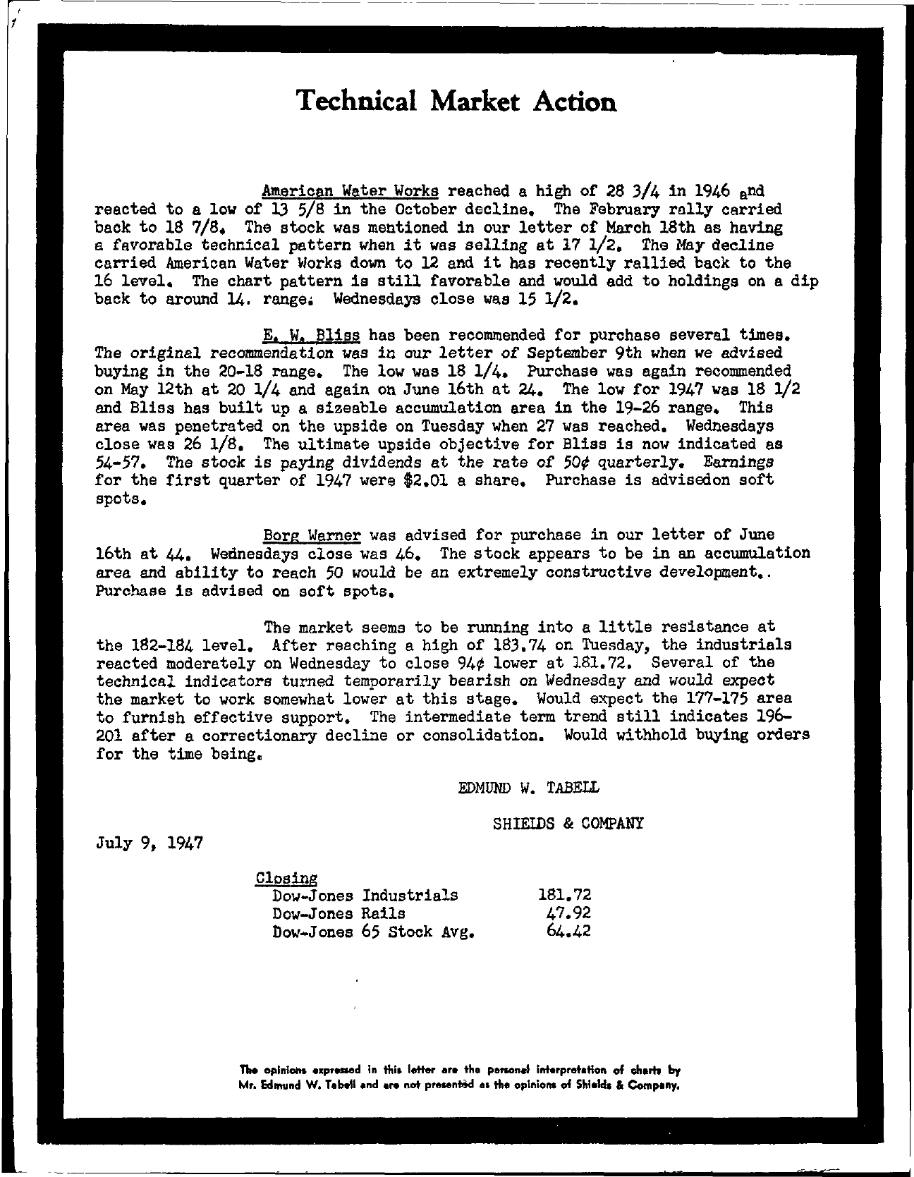 Tabell's Market Letter - July 09, 1947