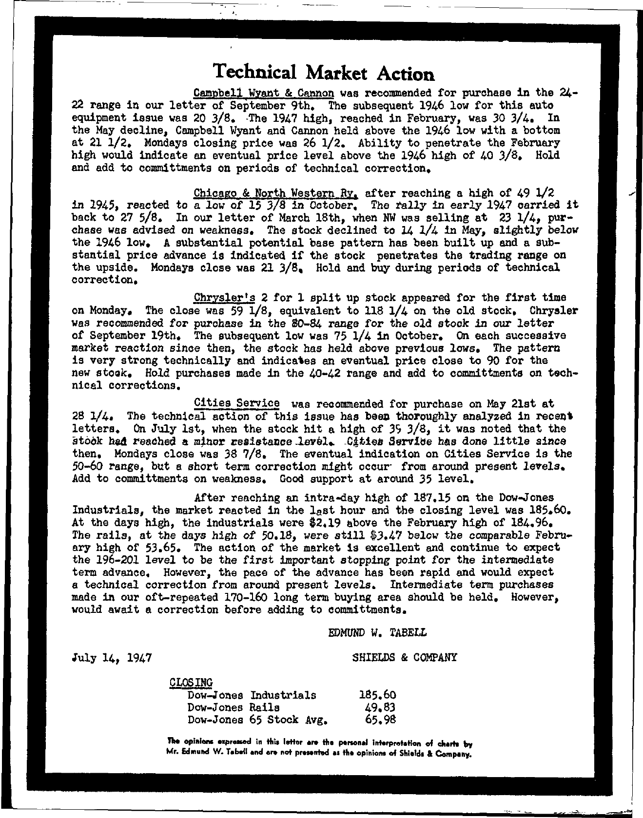 Tabell's Market Letter - July 14, 1947