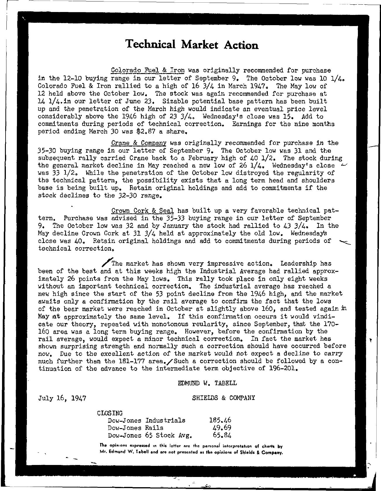 Tabell's Market Letter - July 16, 1947
