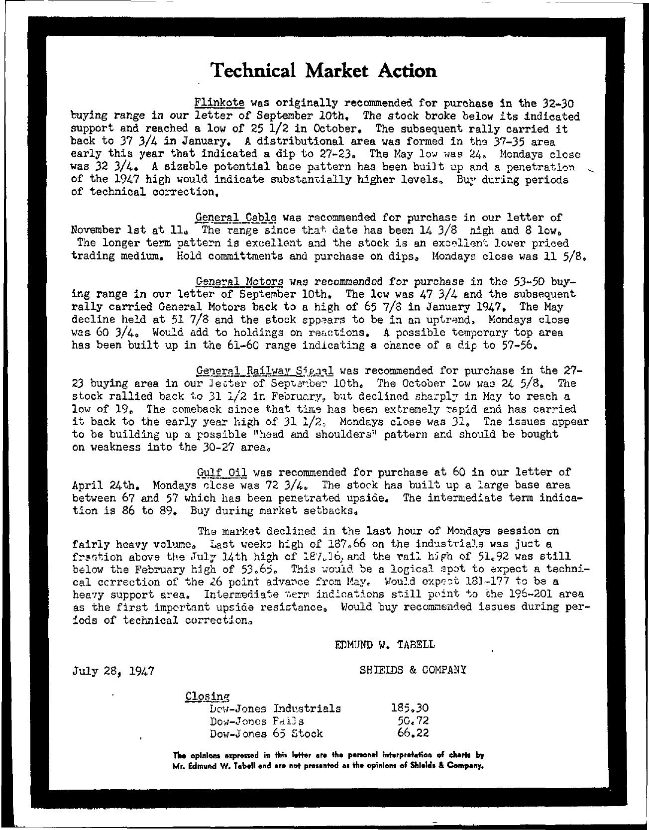 Tabell's Market Letter - July 28, 1947