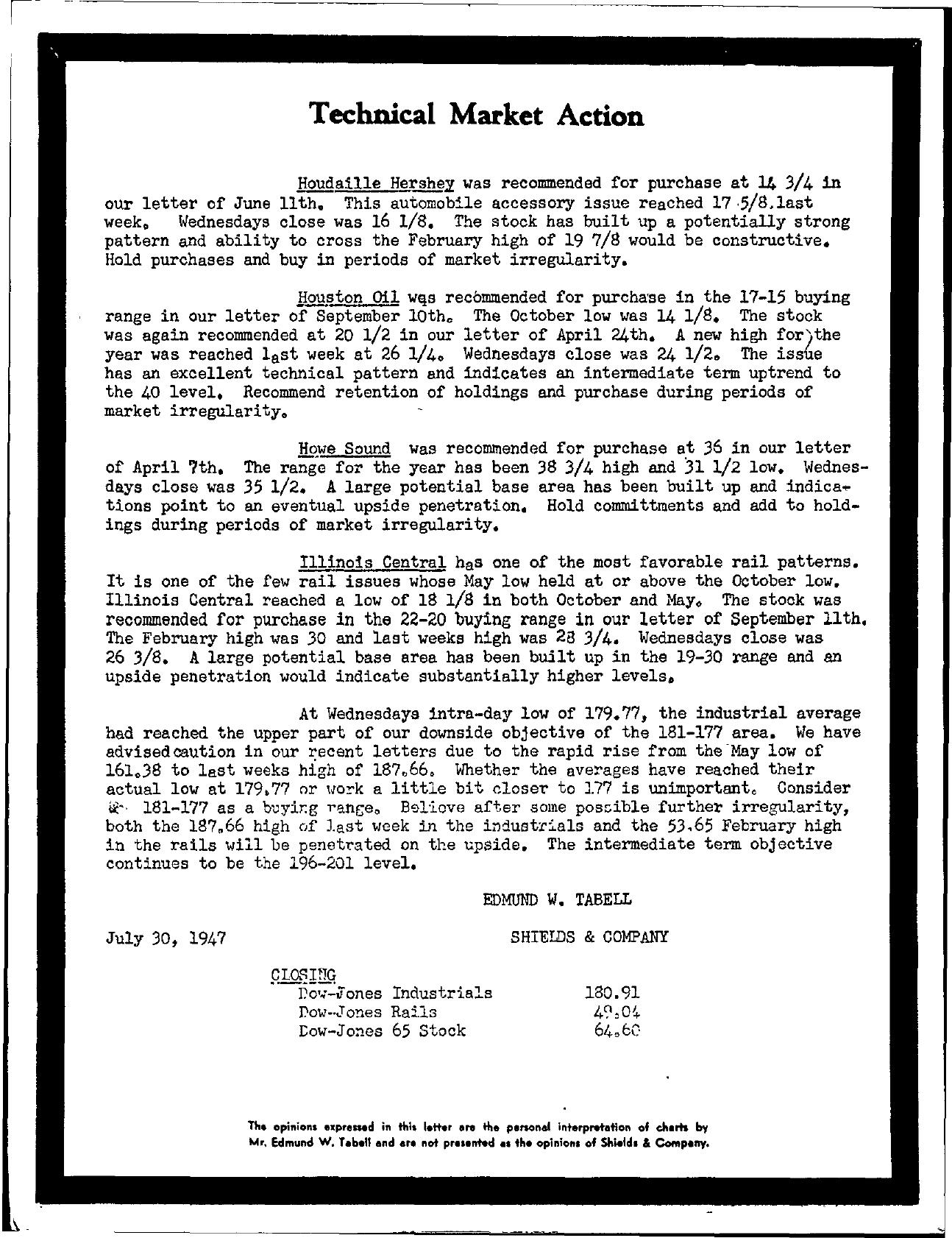 Tabell's Market Letter - July 30, 1947