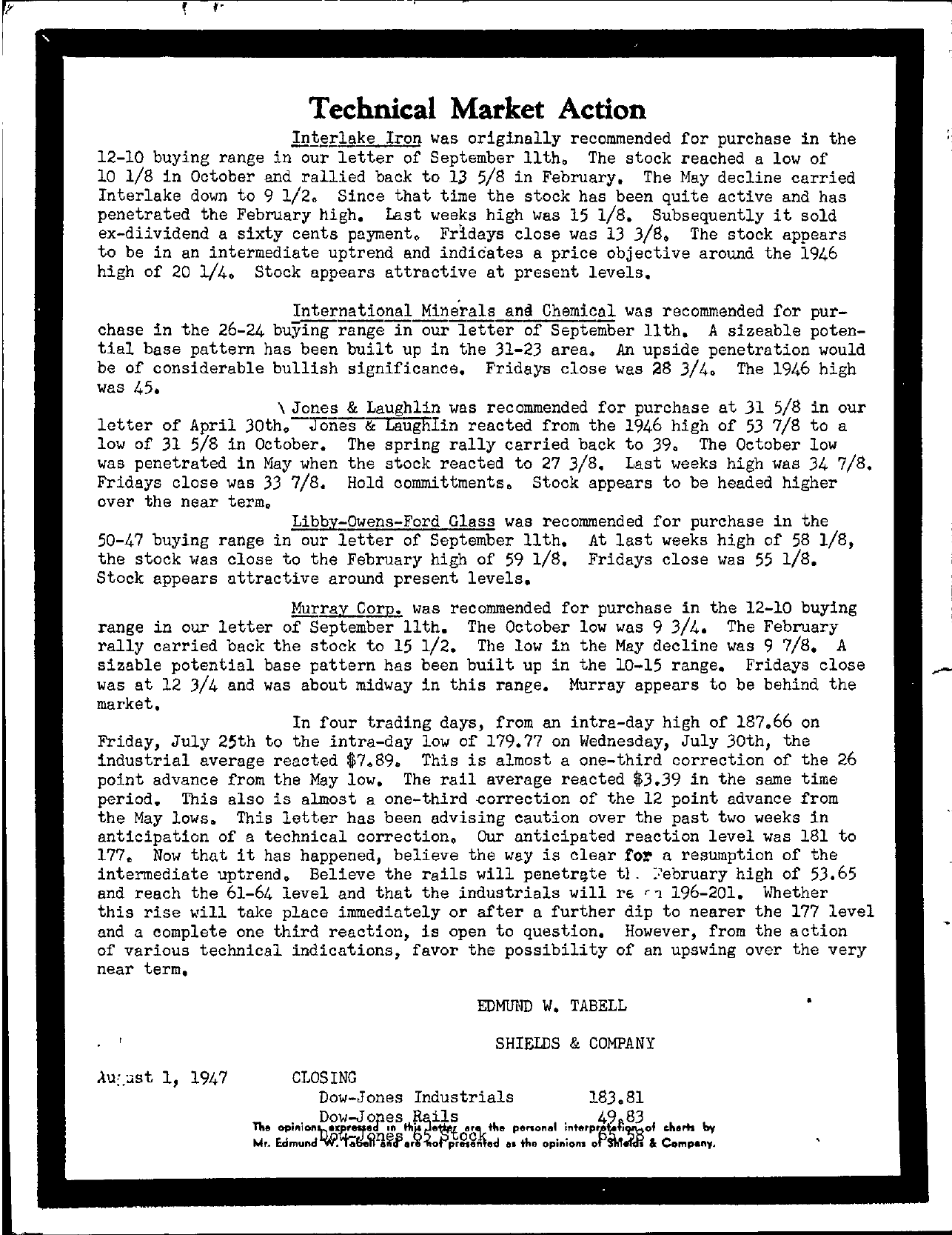 Tabell's Market Letter - August 01, 1947