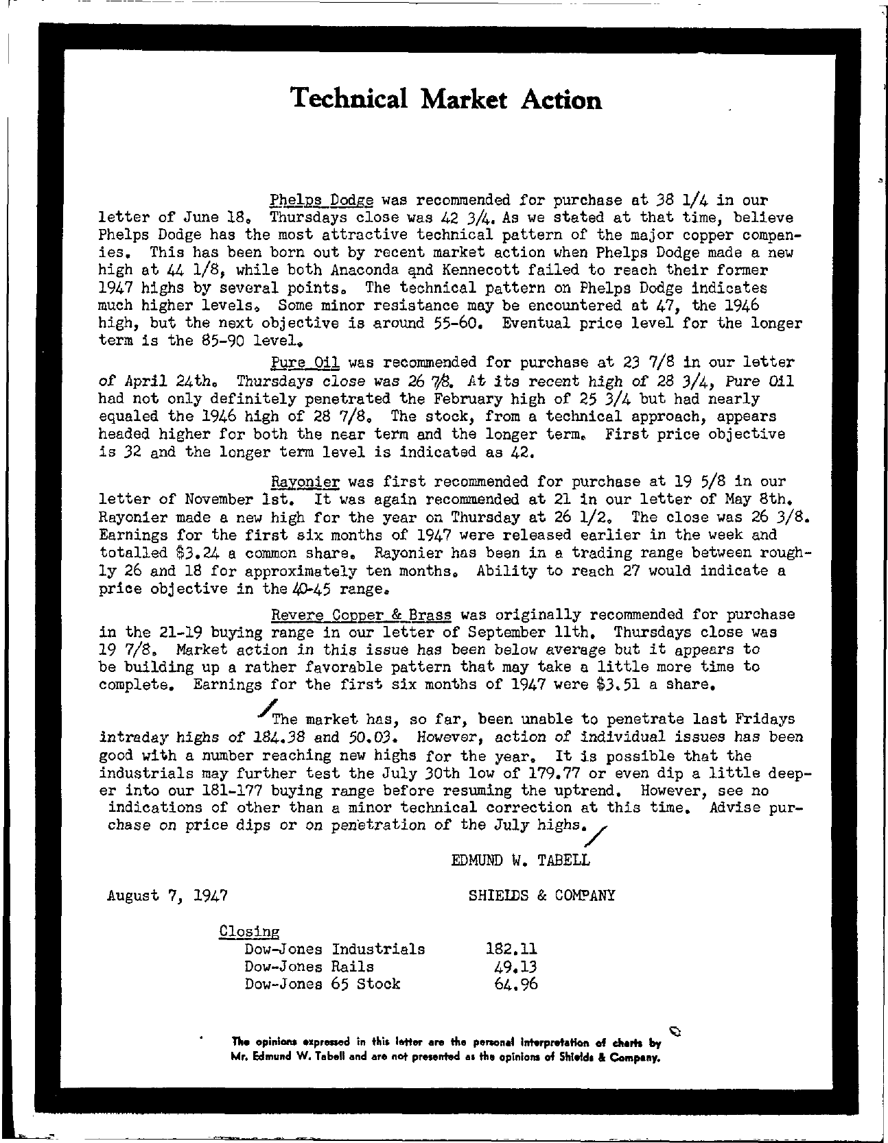 Tabell's Market Letter - August 07, 1947
