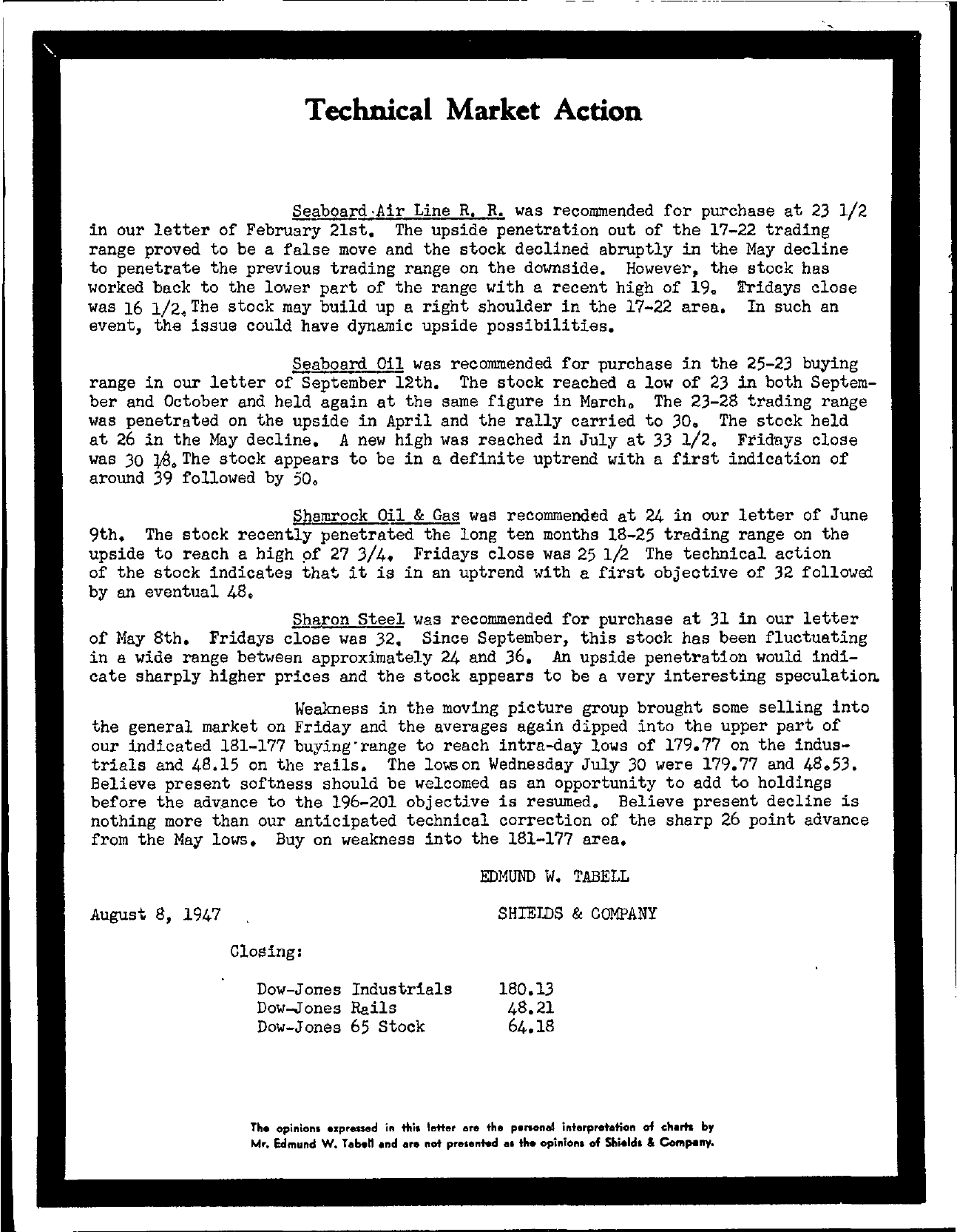 Tabell's Market Letter - August 08, 1947