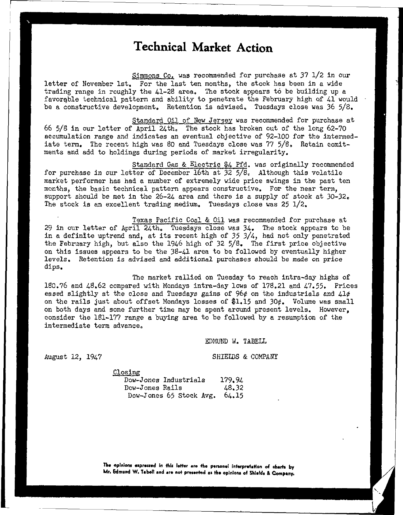 Tabell's Market Letter - August 12, 1947