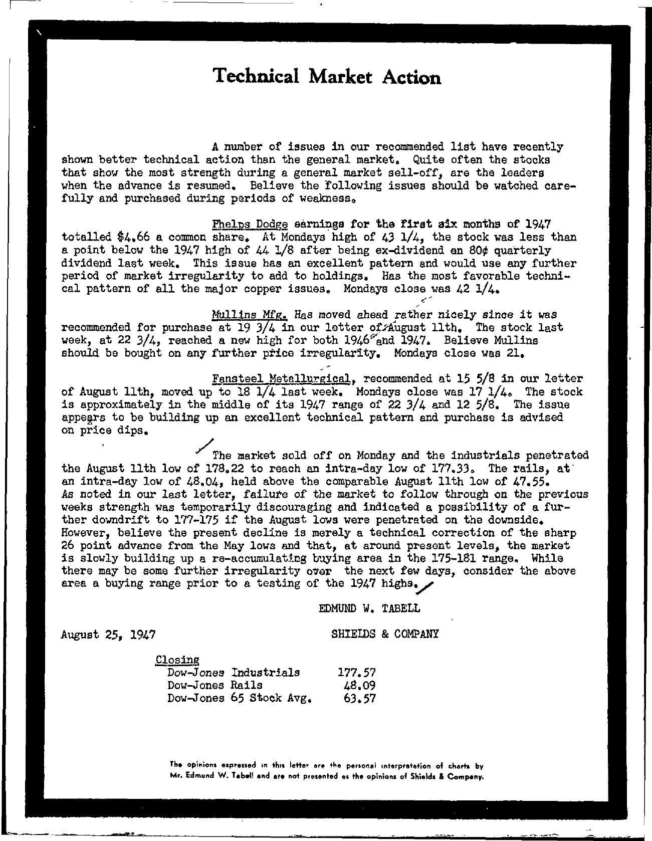 Tabell's Market Letter - August 25, 1947