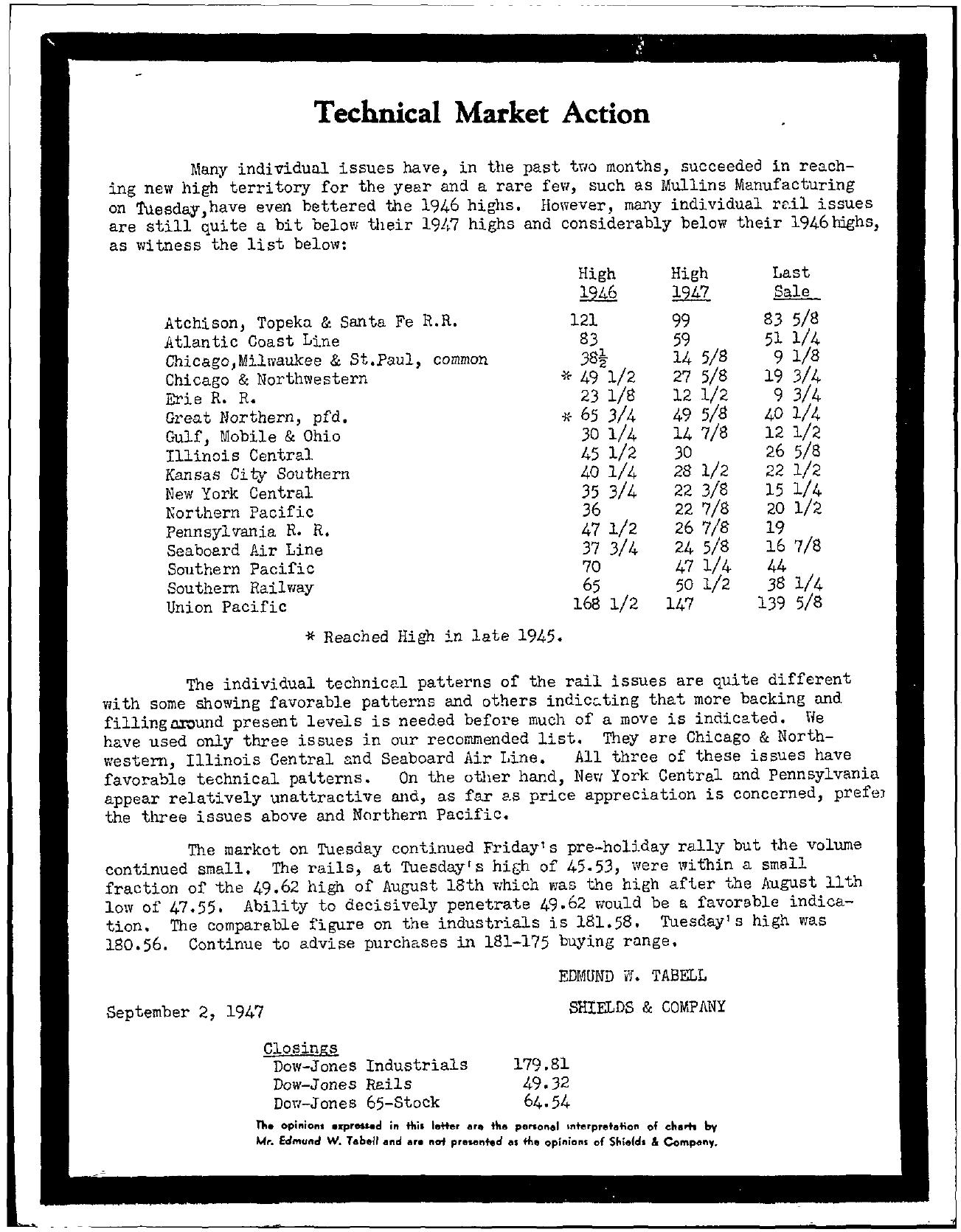 Tabell's Market Letter - September 02, 1947