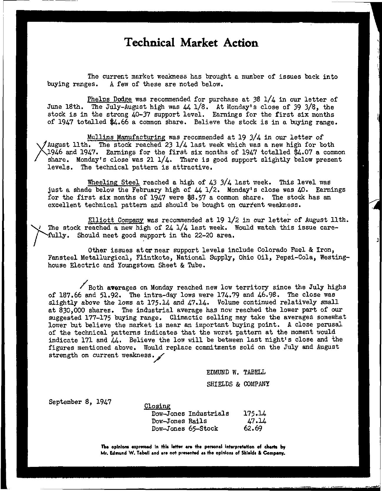 Tabell's Market Letter - September 08, 1947