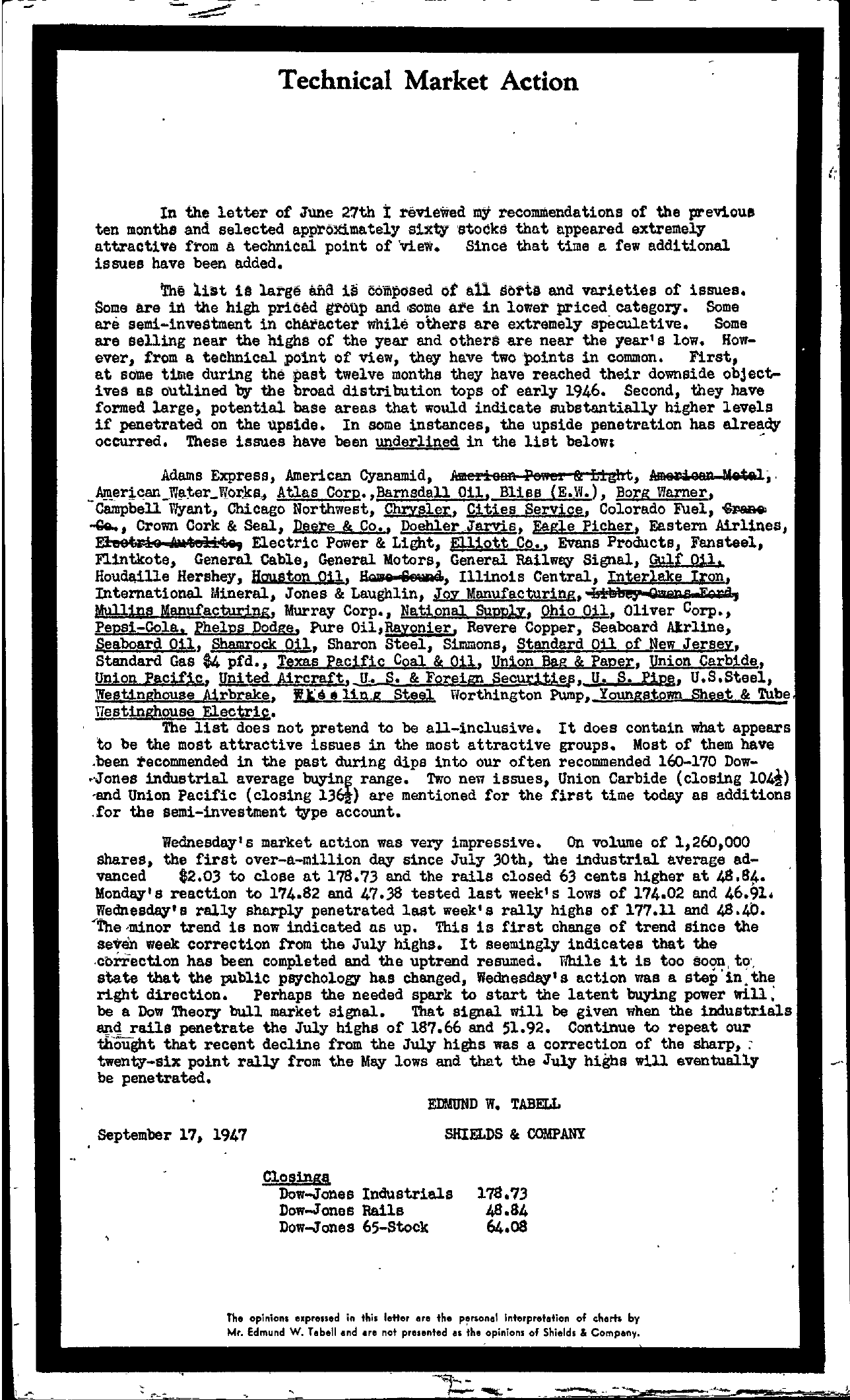 Tabell's Market Letter - September 17, 1947
