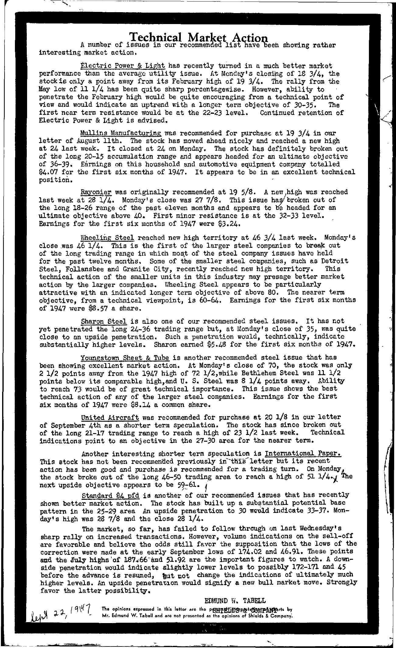 Tabell's Market Letter - September 22, 1947