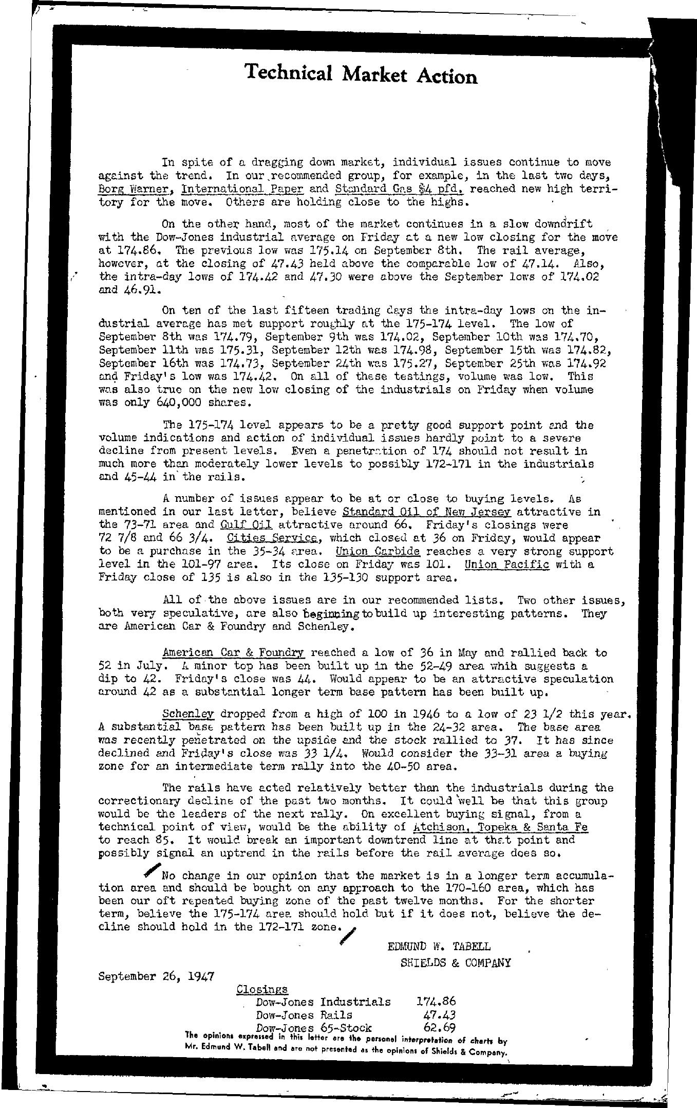 Tabell's Market Letter - September 26, 1947