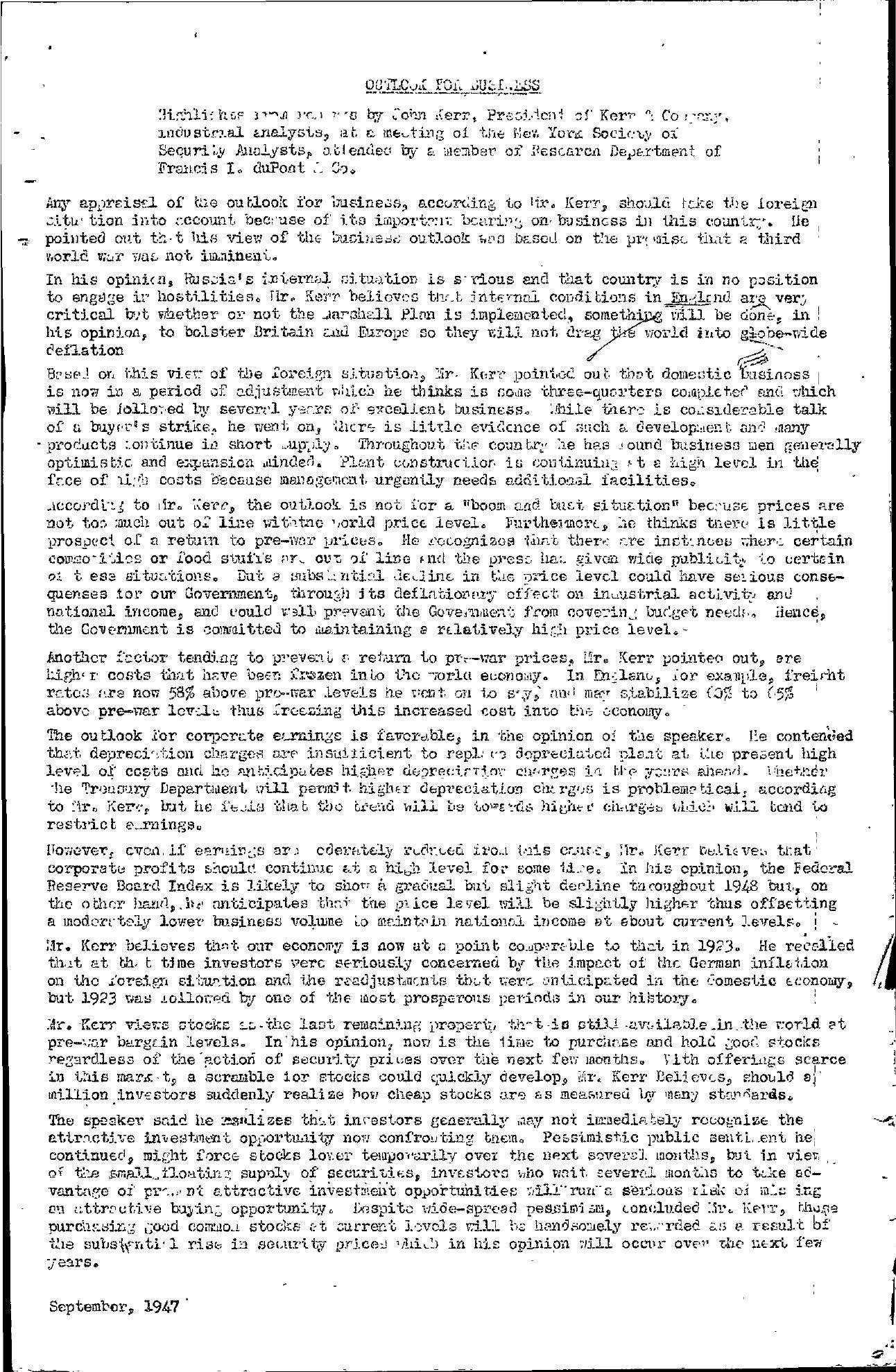 Tabell's Market Letter - September 30, 1947