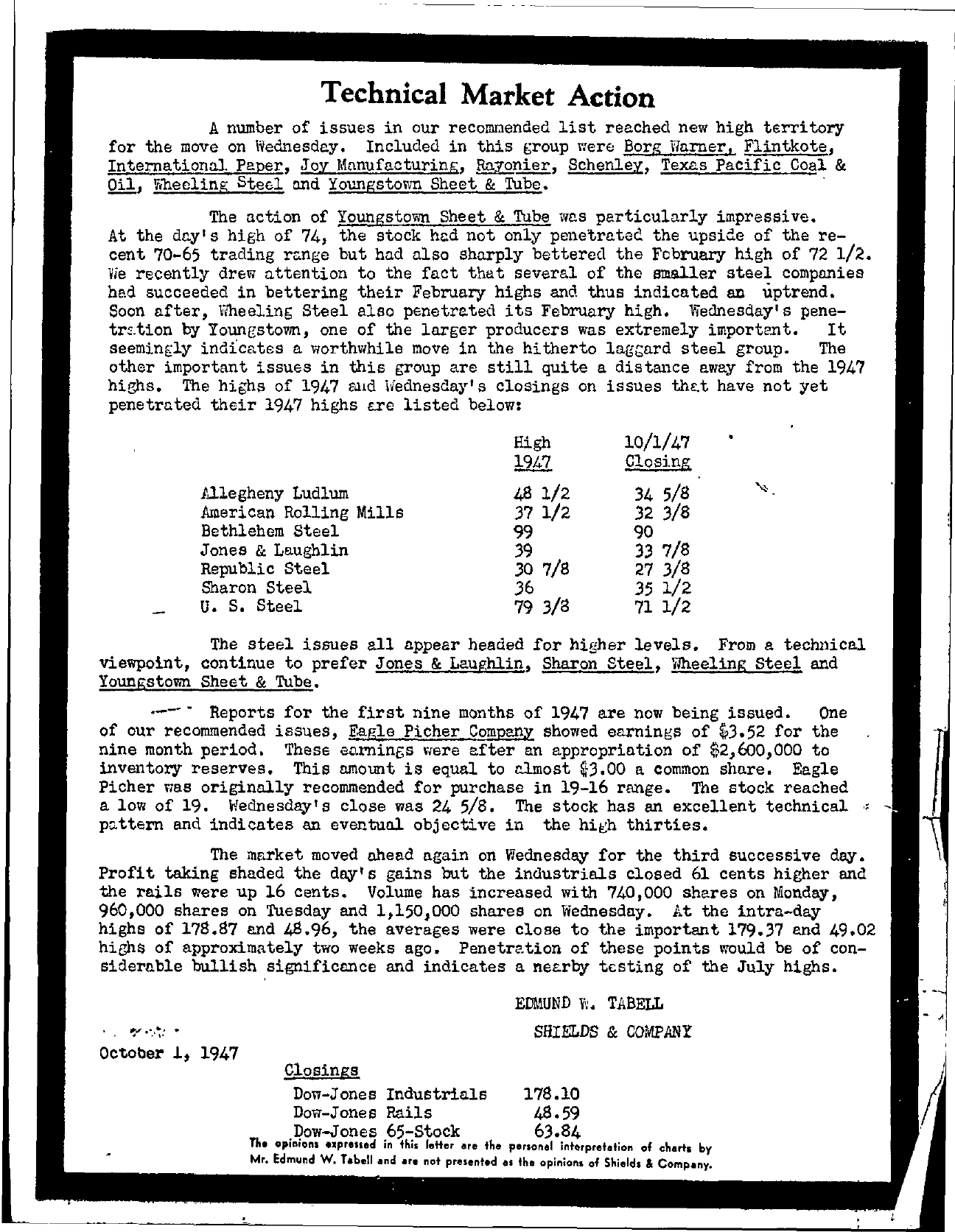 Tabell's Market Letter - October 01, 1947