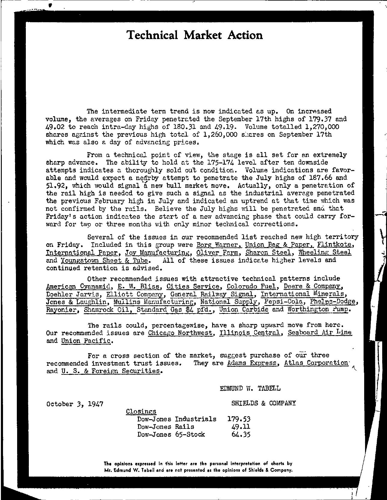 Tabell's Market Letter - October 03, 1947