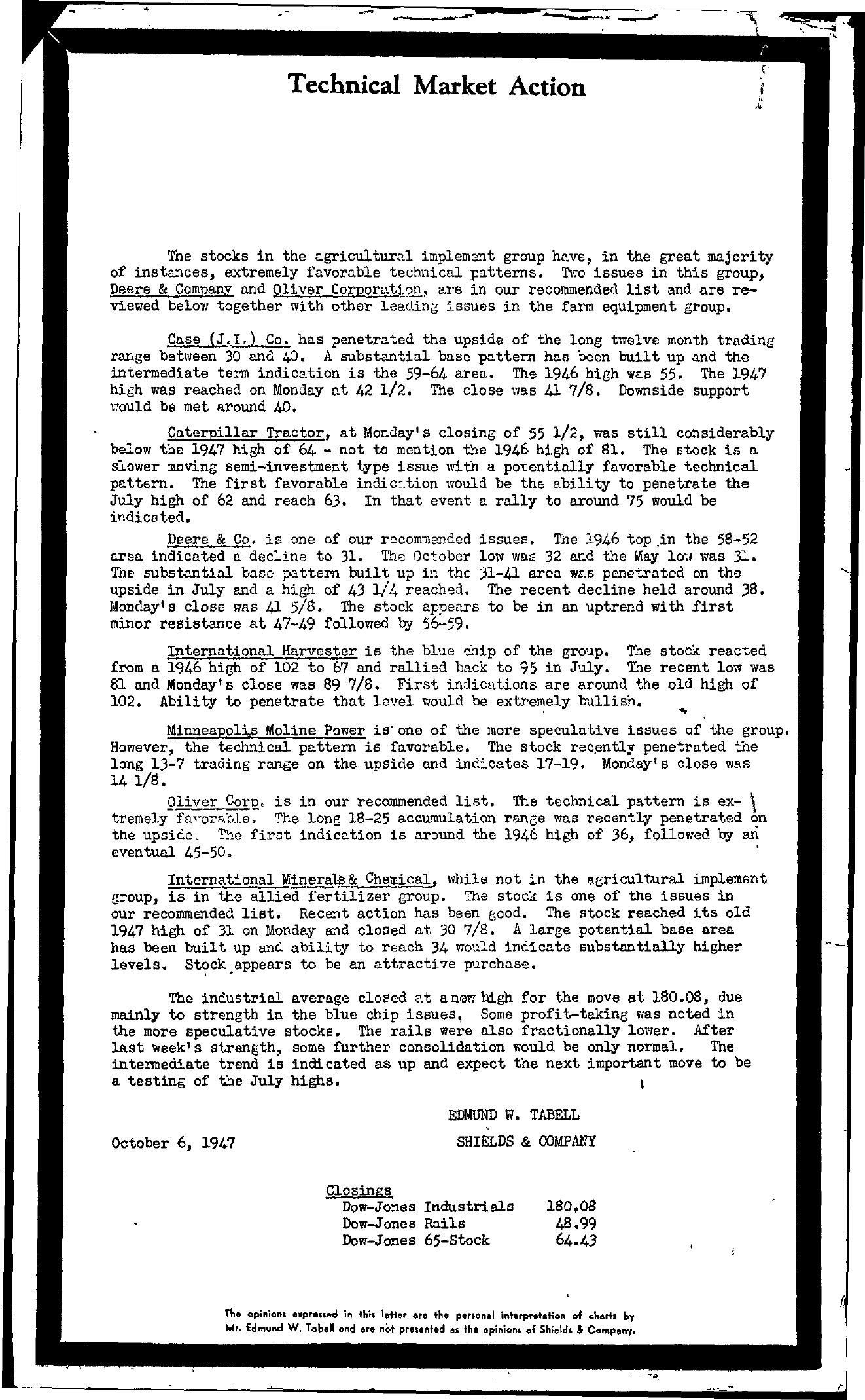 Tabell's Market Letter - October 06, 1947