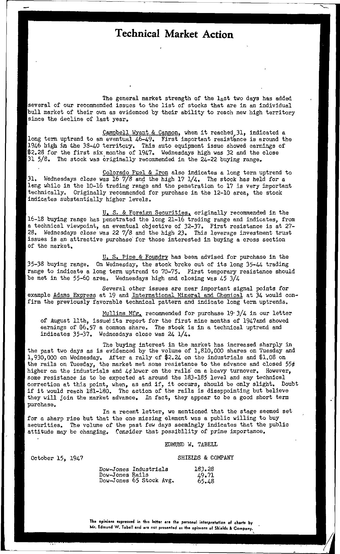 Tabell's Market Letter - October 15, 1947