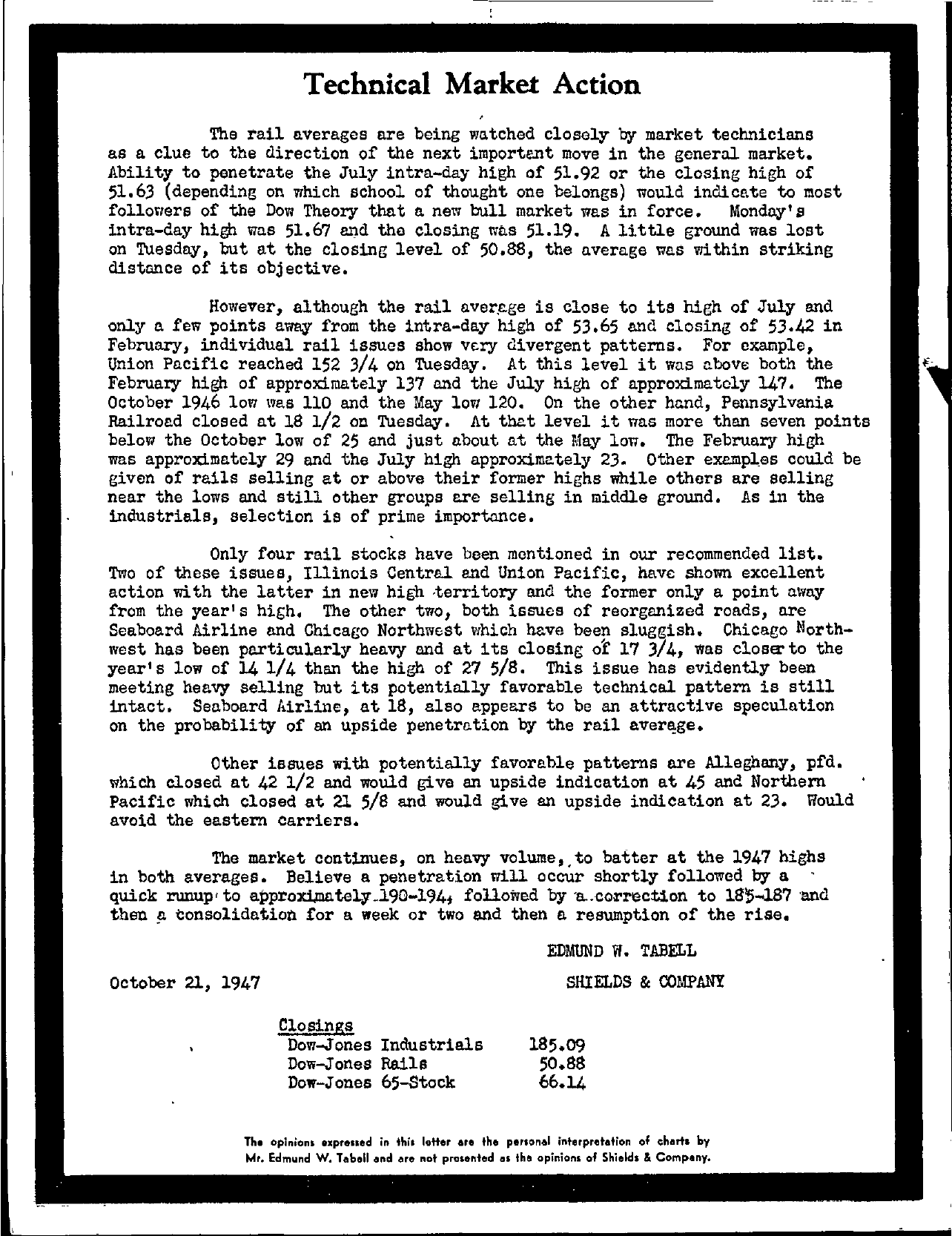 Tabell's Market Letter - October 21, 1947