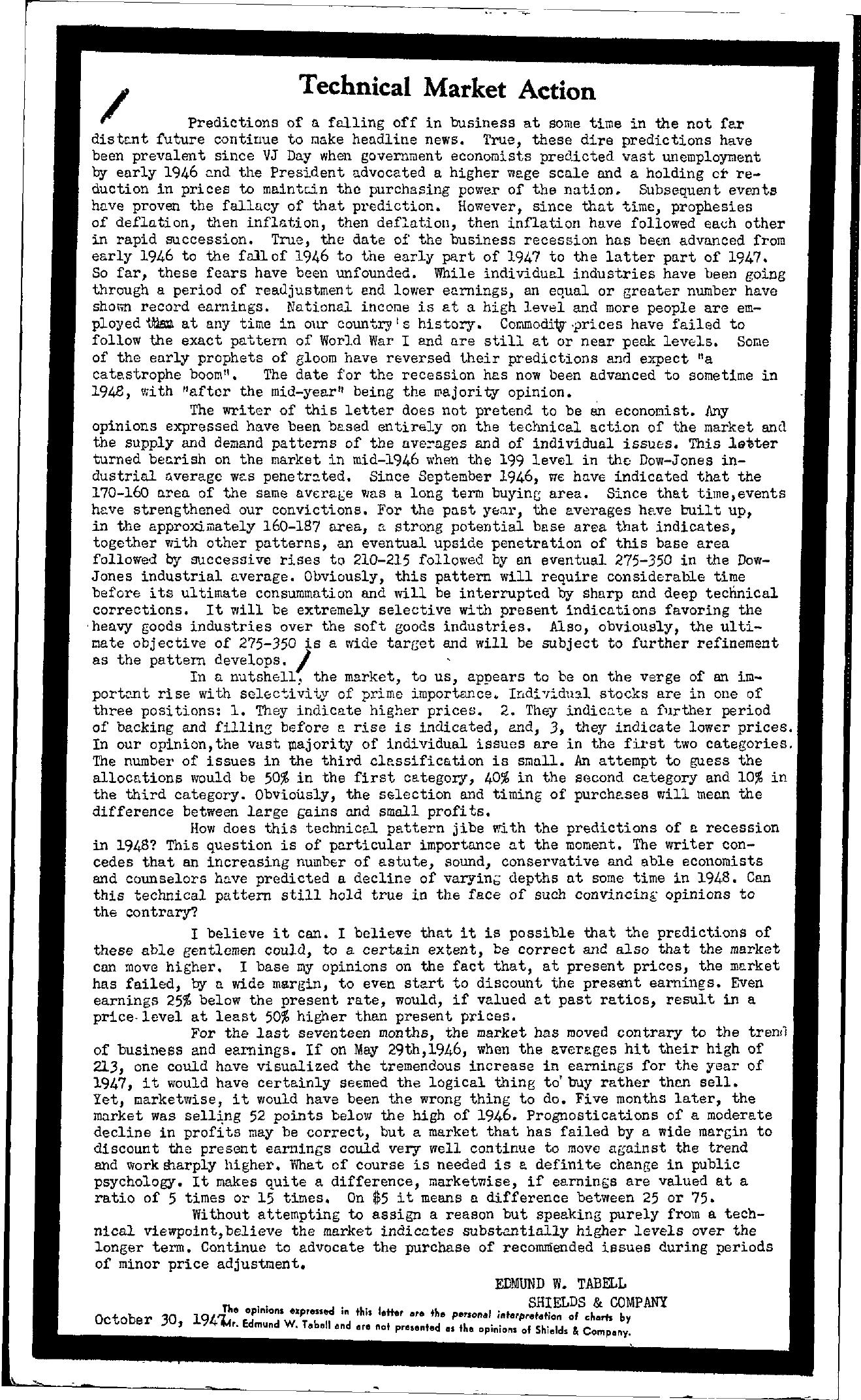 Tabell's Market Letter - October 30, 1947