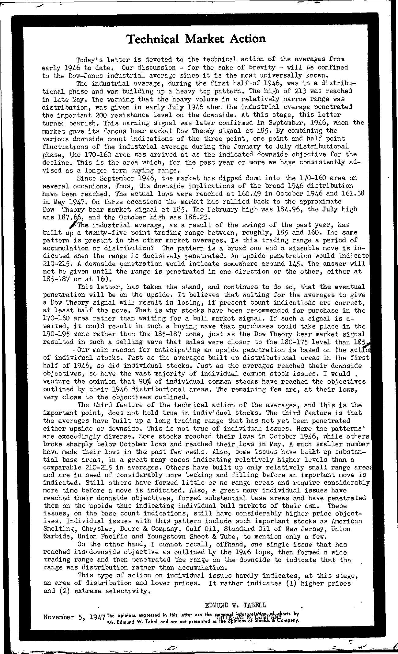 Tabell's Market Letter - November 05, 1947
