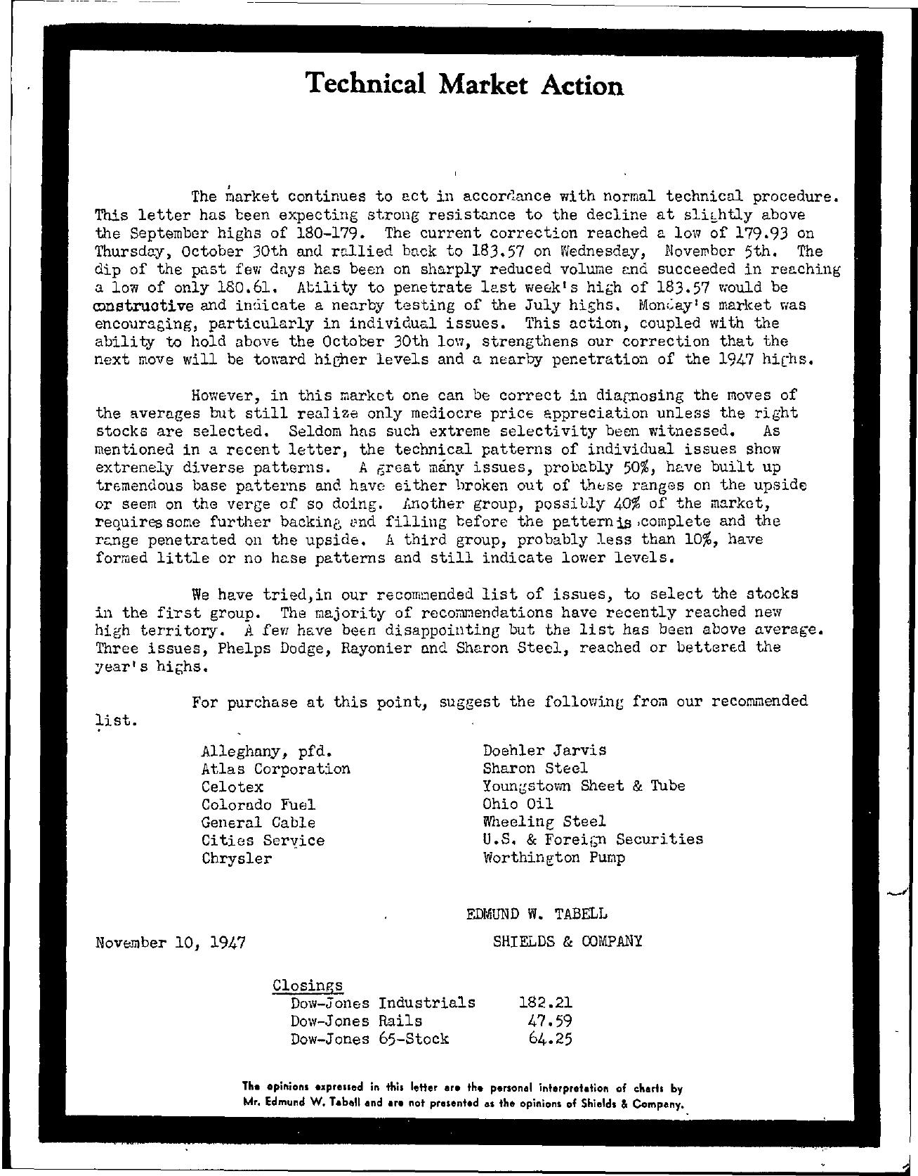 Tabell's Market Letter - November 10, 1947