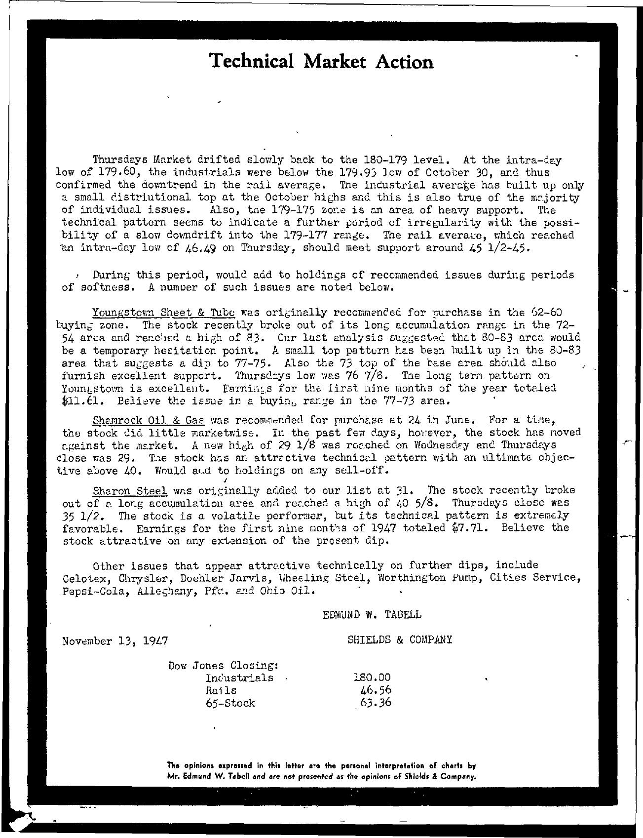 Tabell's Market Letter - November 13, 1947
