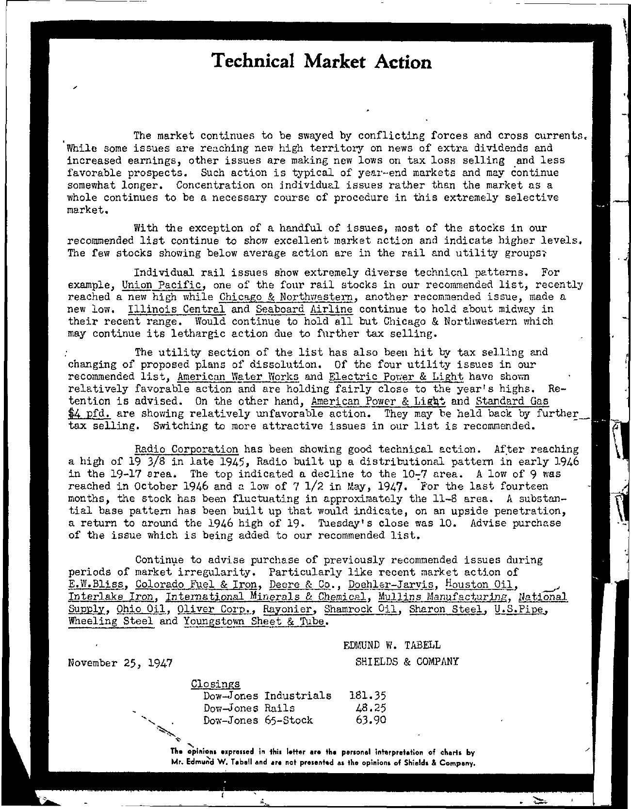 Tabell's Market Letter - November 25, 1947 page 1