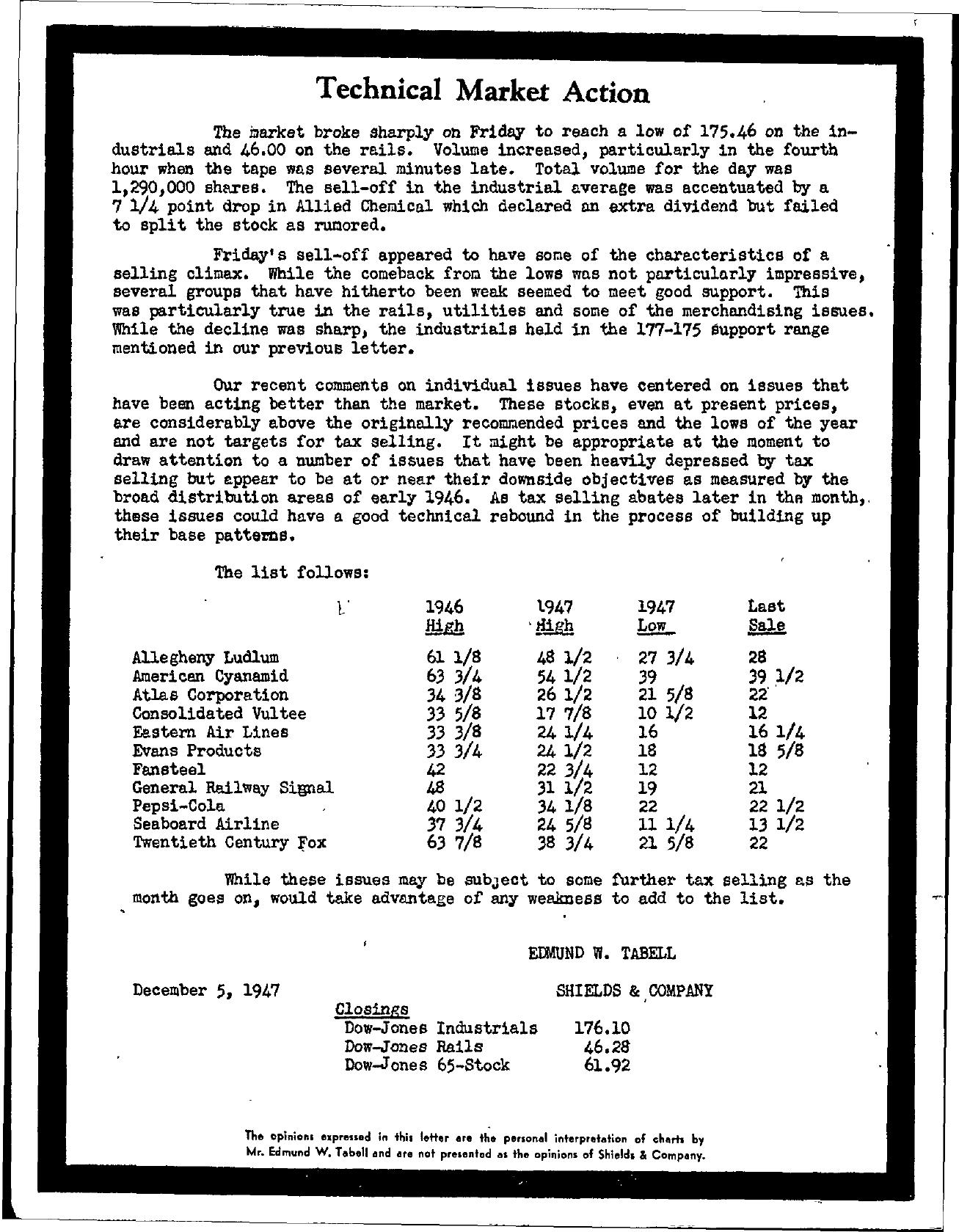 Tabell's Market Letter - December 05, 1947