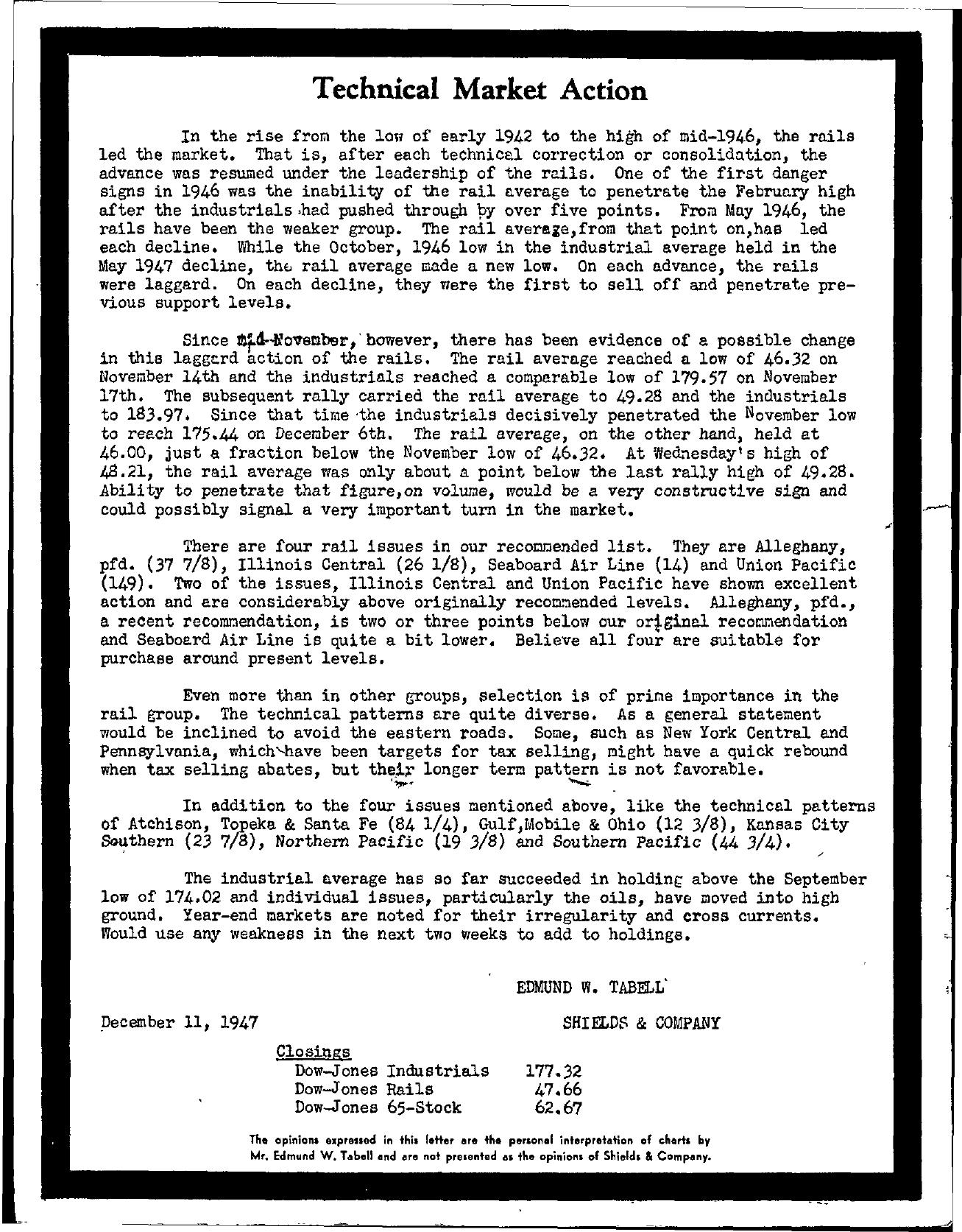 Tabell's Market Letter - December 11, 1947