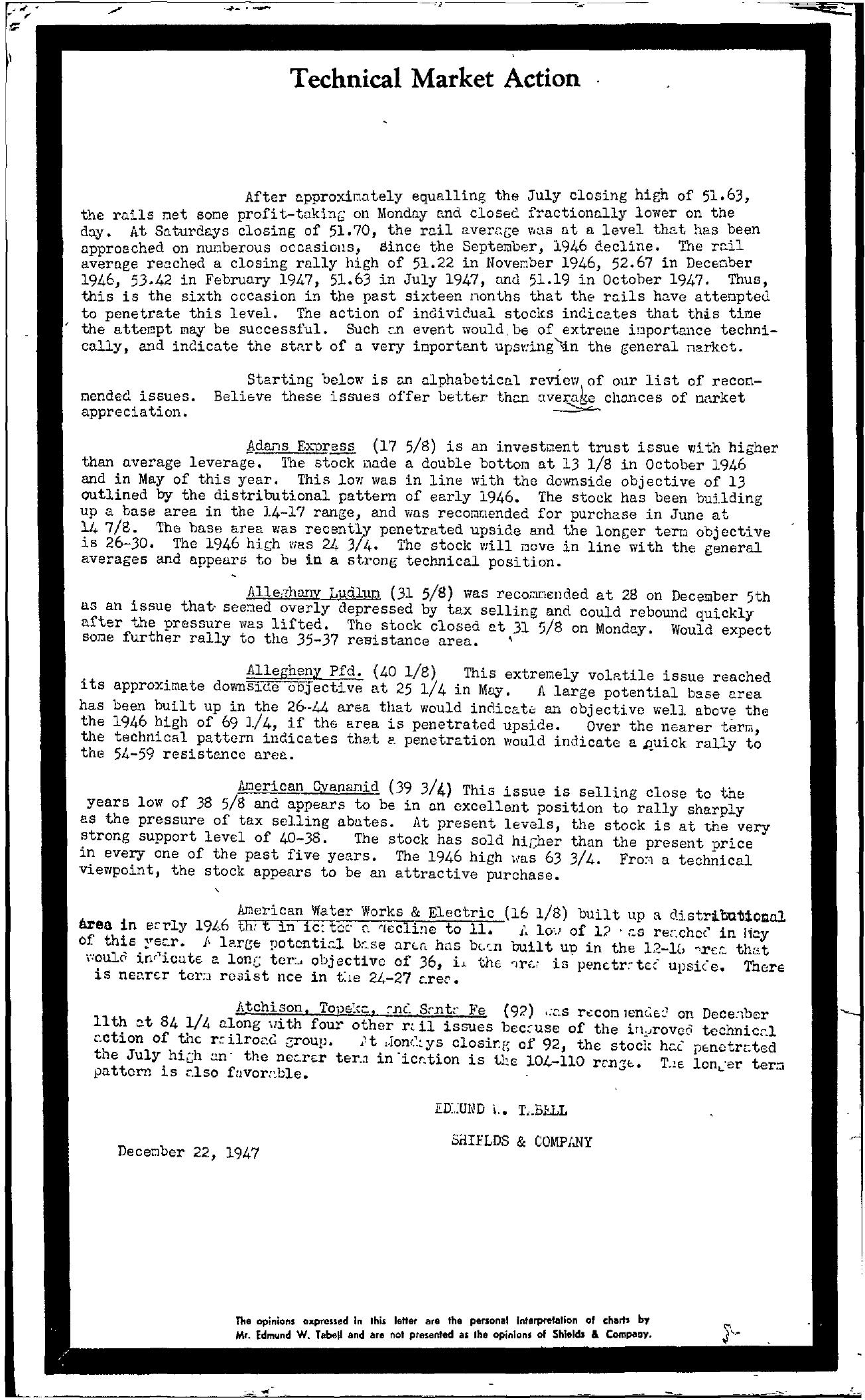 Tabell's Market Letter - December 22, 1947