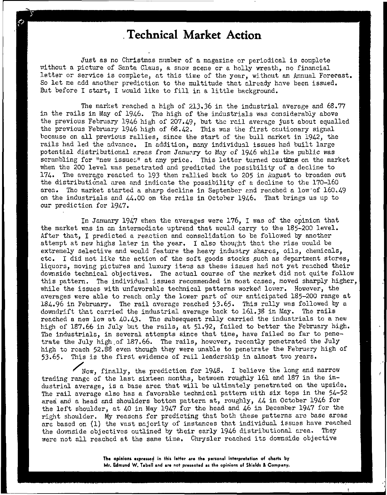 Tabell's Market Letter - December 31, 1947 page 1