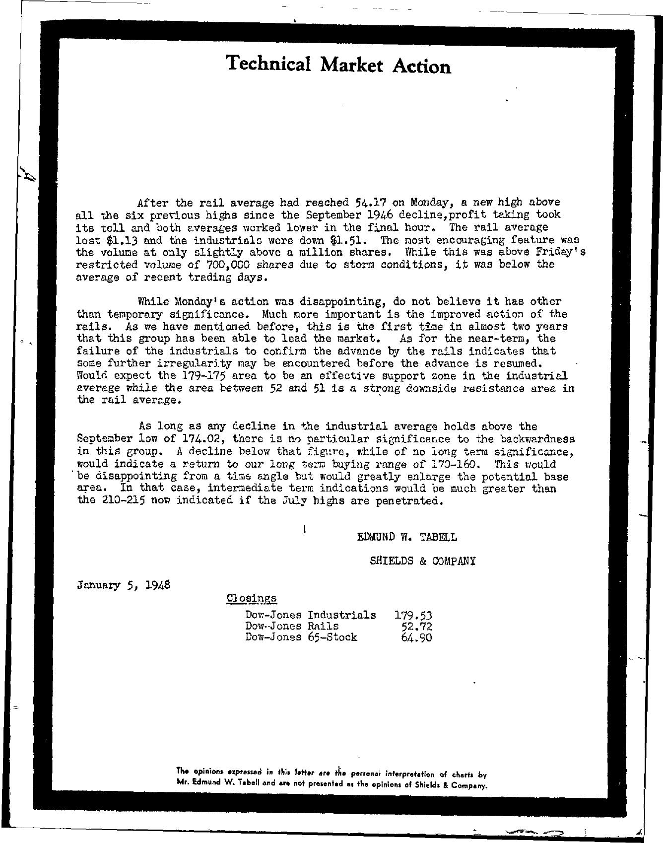 Tabell's Market Letter - January 05, 1948