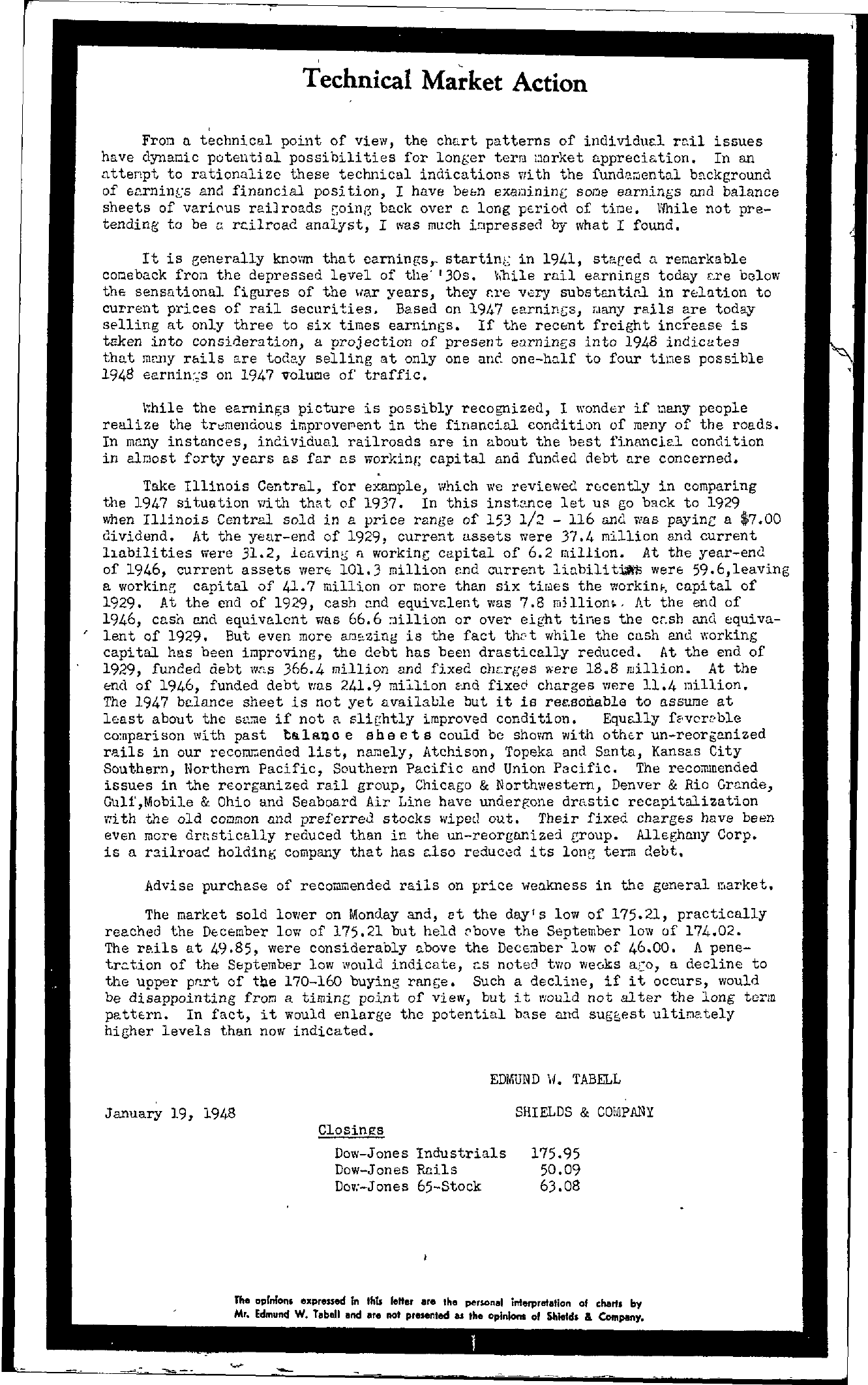 Tabell's Market Letter - January 19, 1948