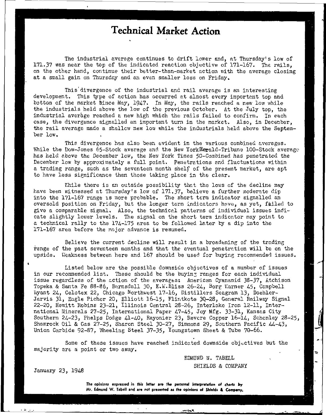 Tabell's Market Letter - January 23, 1948