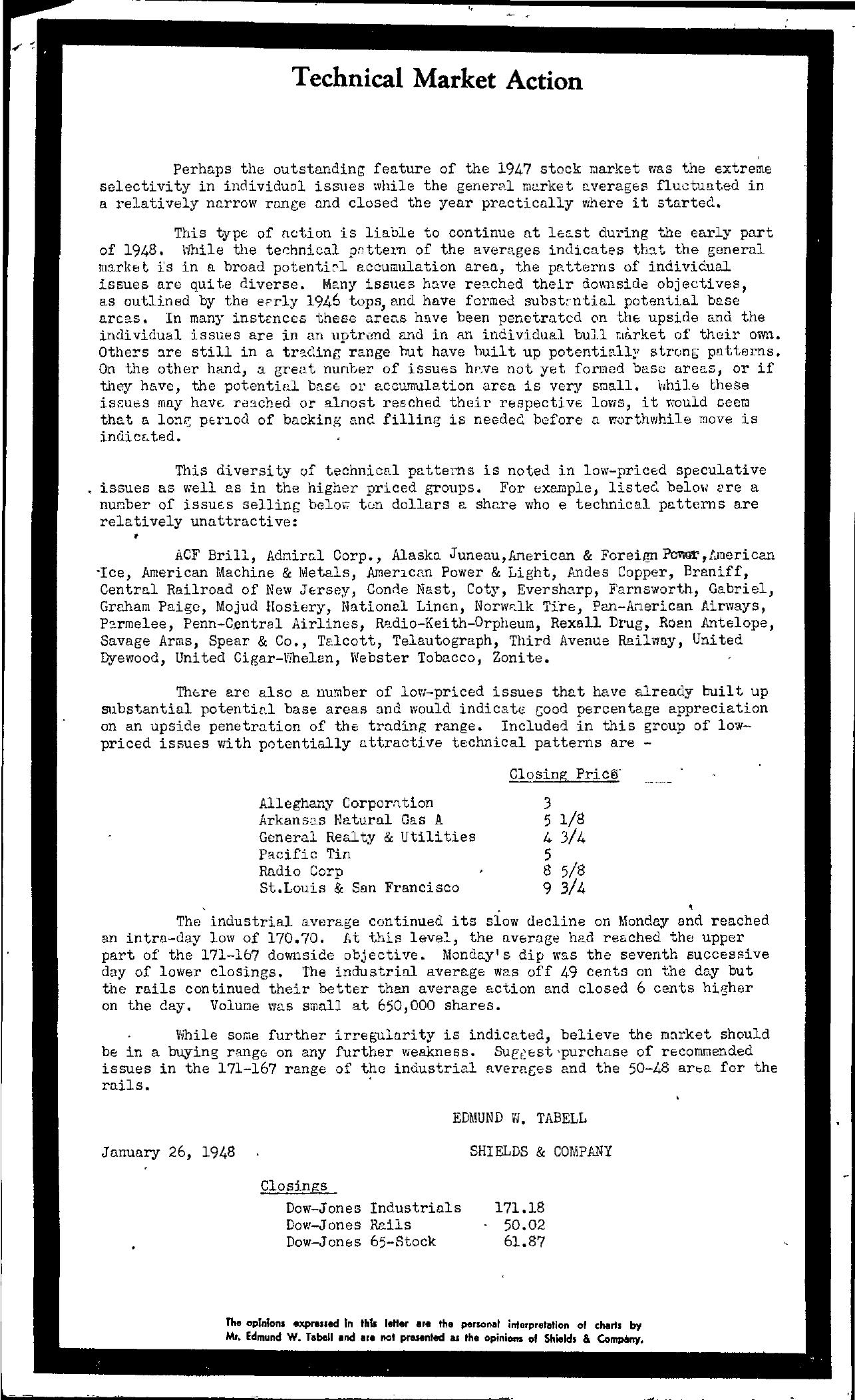 Tabell's Market Letter - January 26, 1948