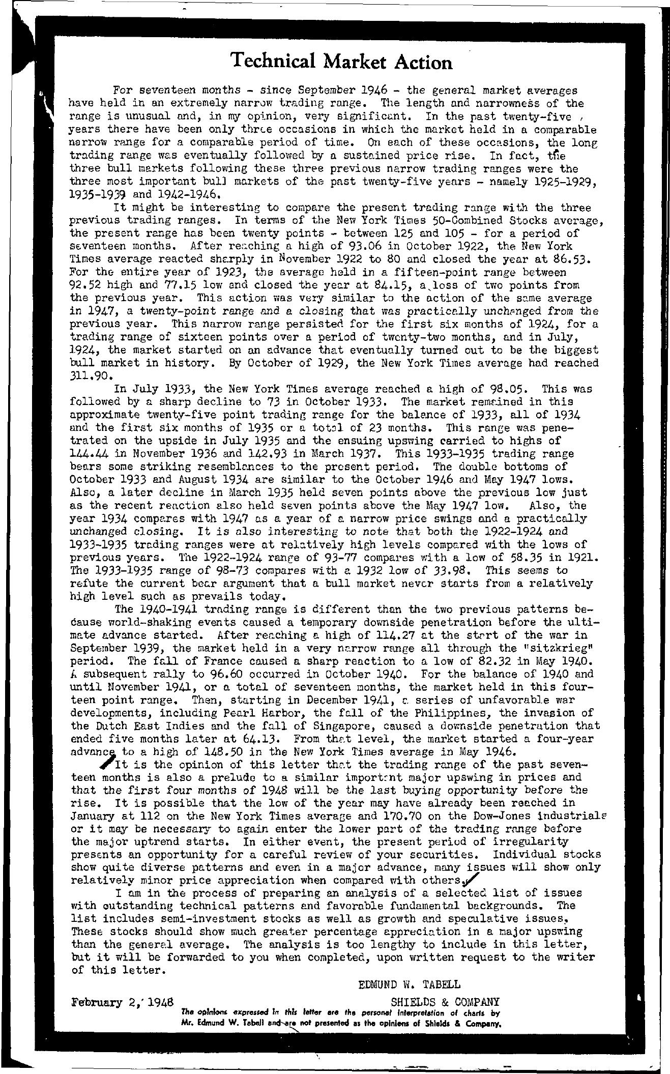 Tabell's Market Letter - February 02, 1948