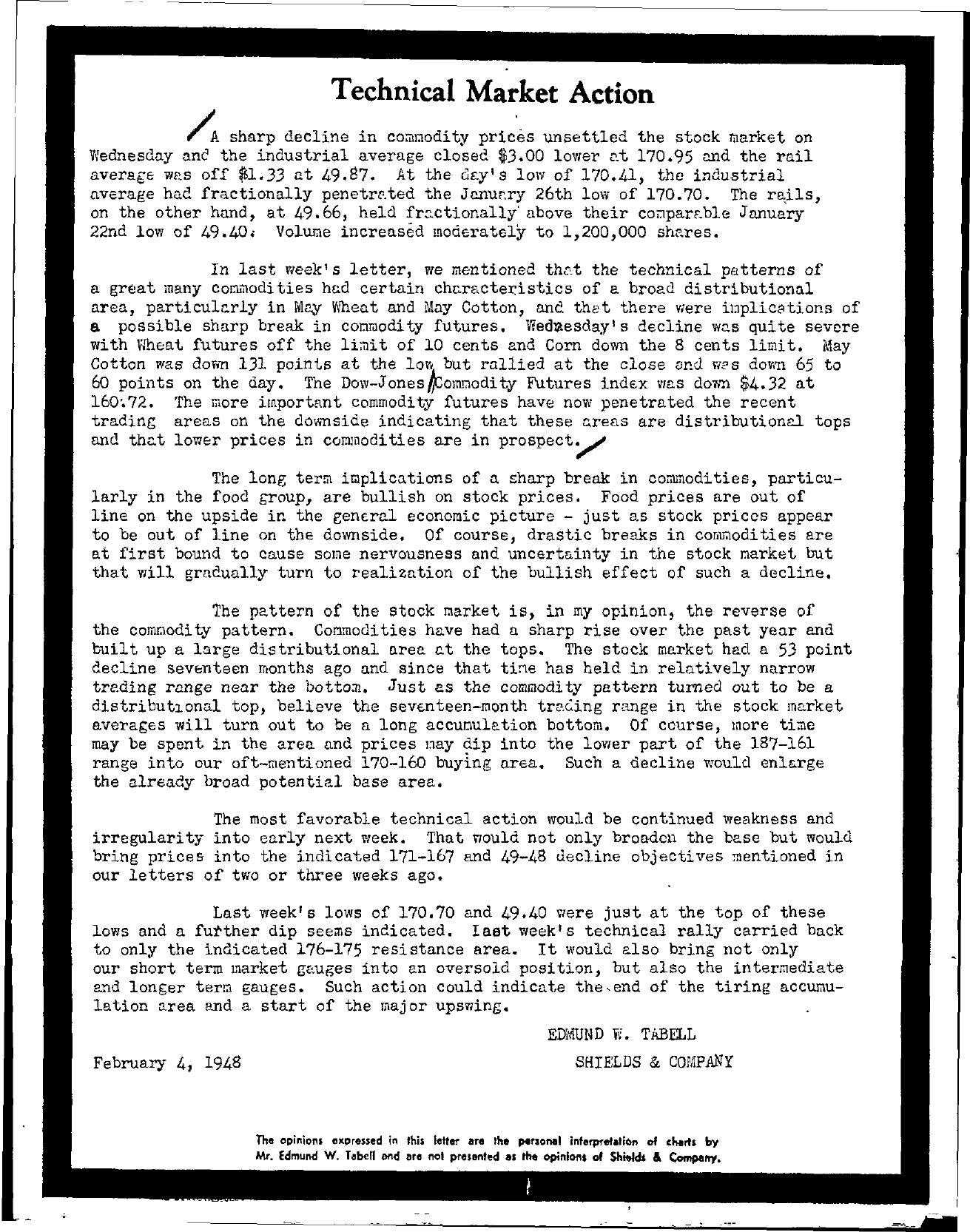 Tabell's Market Letter - February 04, 1948