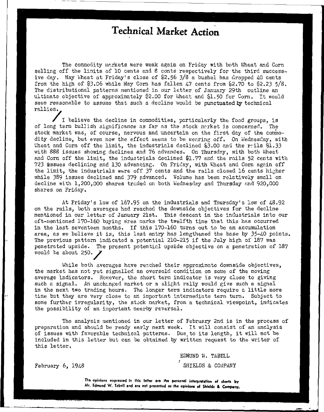 Tabell's Market Letter - February 06, 1948